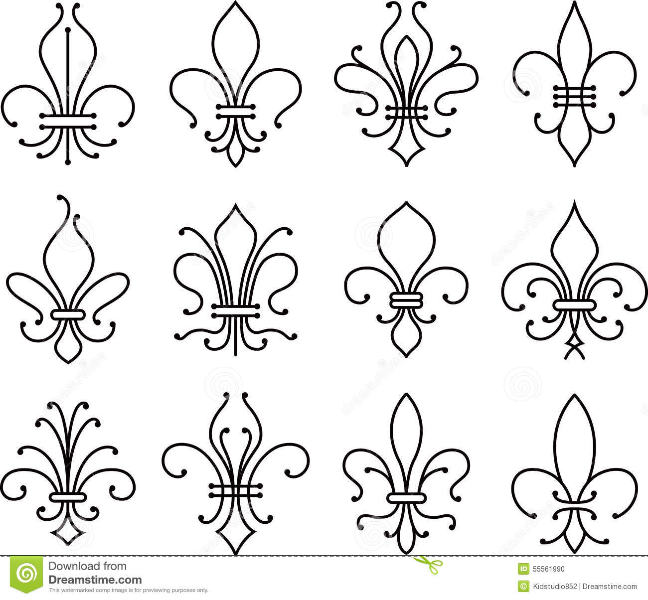 Fleur De Lys Scroll Elements Symbol Stock Vector Illustration Of King Decoration 55561990