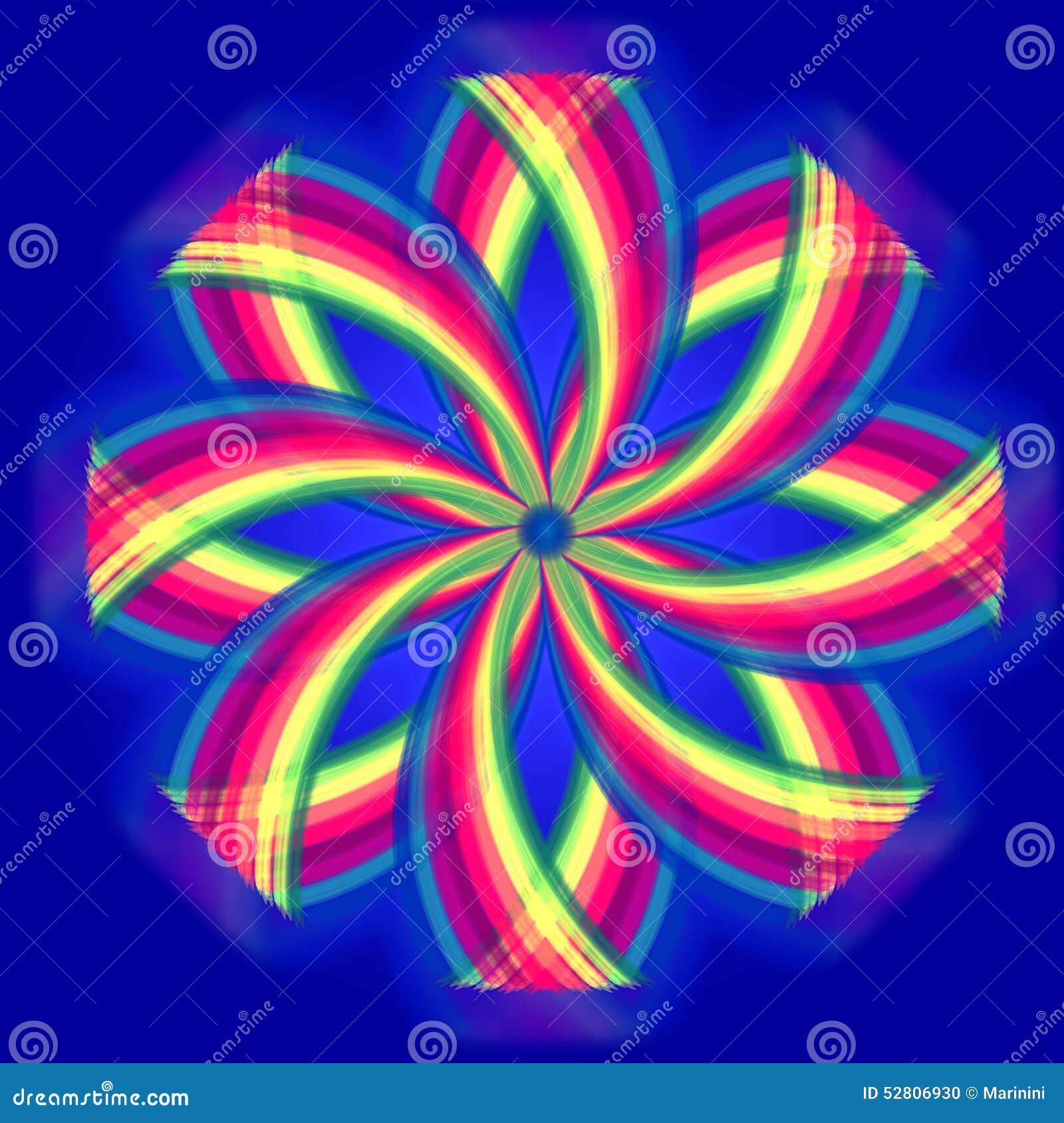 fleur de mandala couleurs d 39 arc en ciel en cercles au dessus de bleu illustration stock image. Black Bedroom Furniture Sets. Home Design Ideas