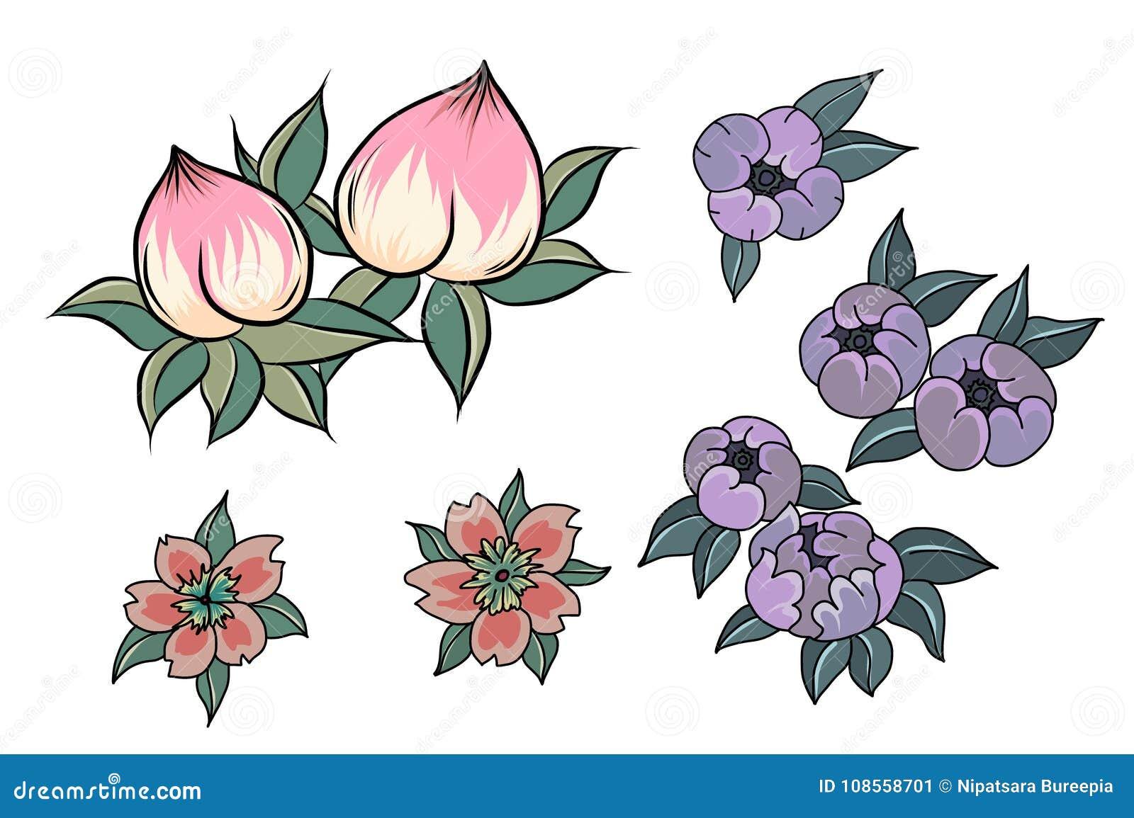 Fleur De Peche Pour Le Tatouage Vecteur Chinois De Fleur Jus Tire