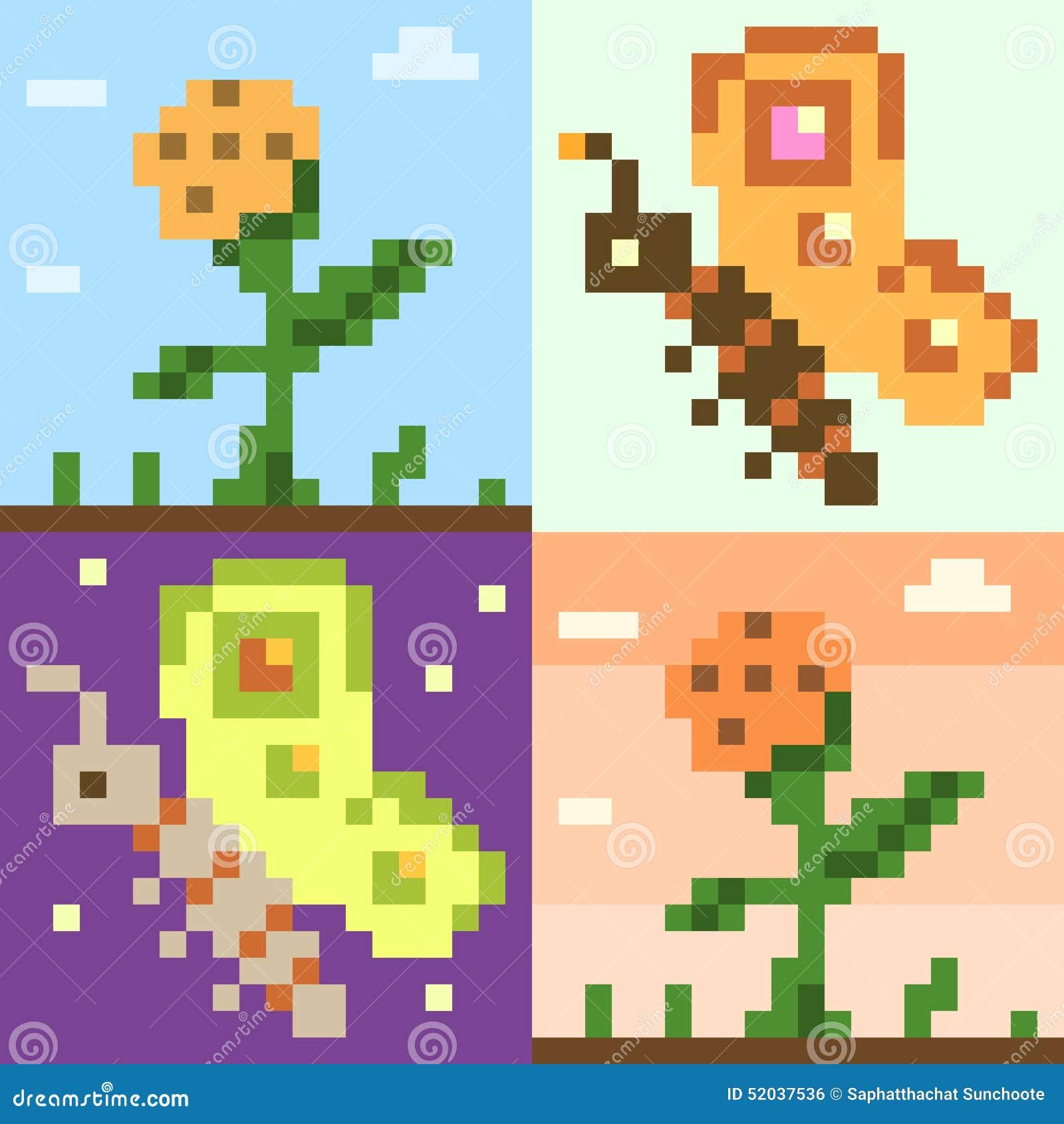 Fleur De Papillon Dart De Pixel De Modèle Illustration De