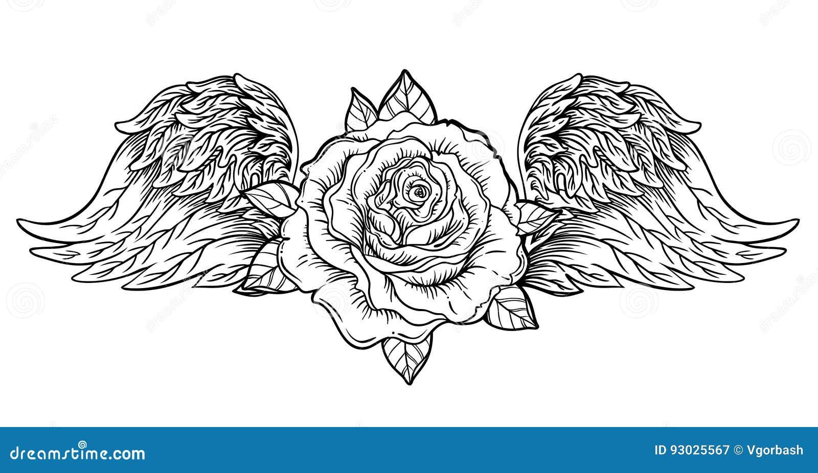 Fleur De Rose Avec L Ange Ou Les Ailes D Oiseau Eclair De Tatouage