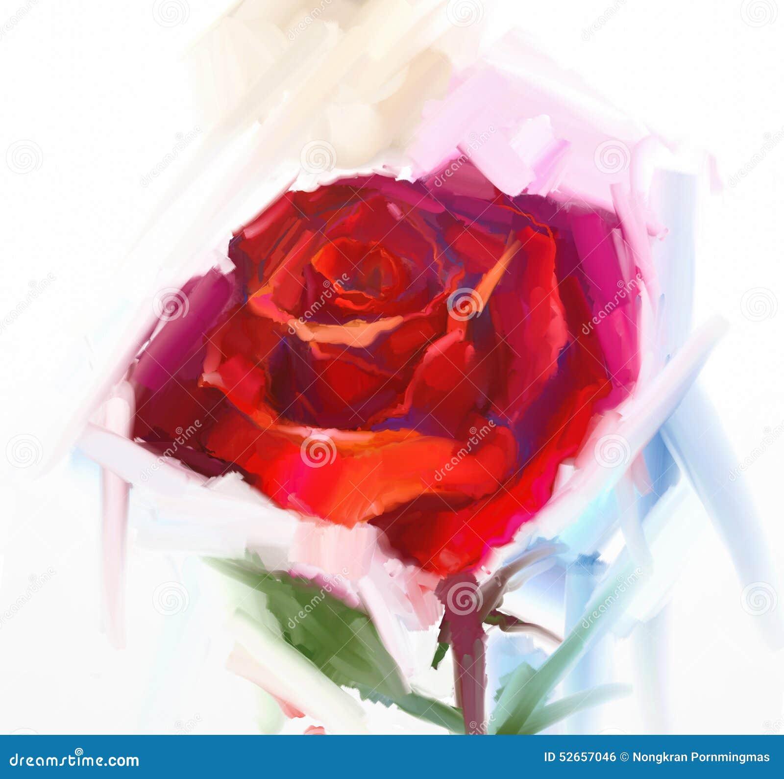 Fleur De Rose De Rouge Avec La Peinture A L Huile Verte De Feuille