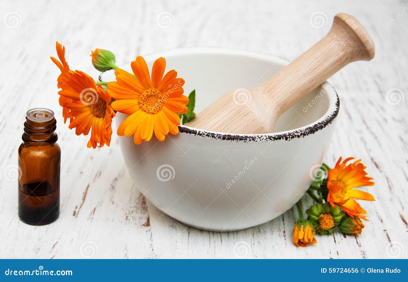 Fleur des officinalis de calendula en mortier