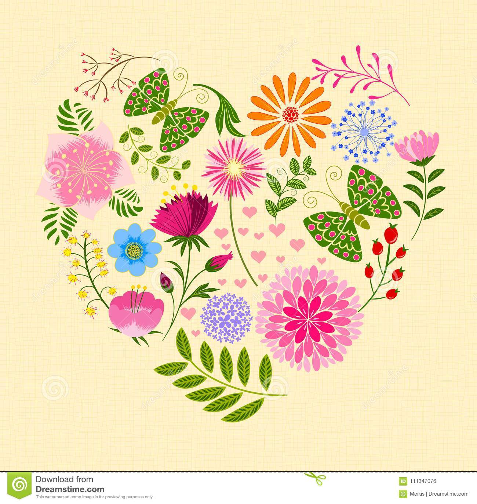 Fleur Et Papillon Colores De Printemps Dans La Forme De Coeur