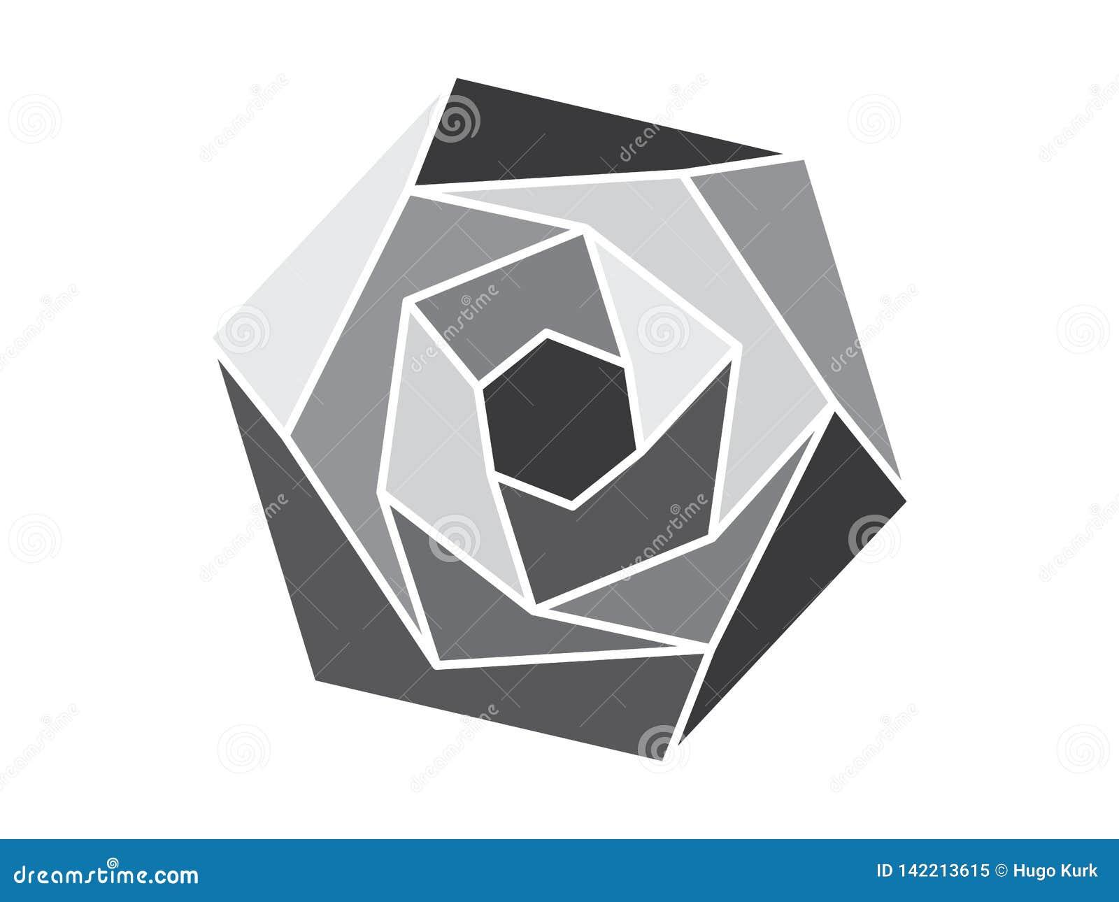 Fleur Géométrique Grise Illustration De Vecteur