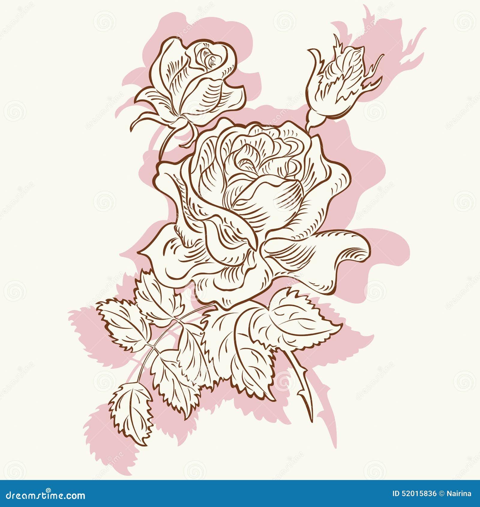 Fleur Rose De Dessin Decorative Illustration De Vecteur