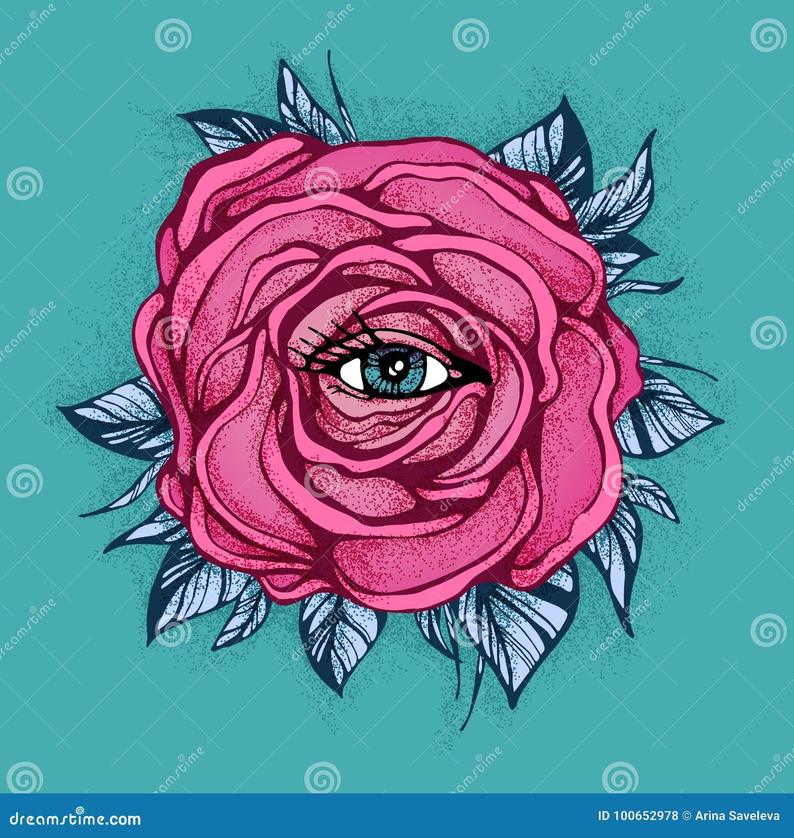 Fleur Rose De Rose De Tatouage Avec L Oeil Sur Le Fond Bleu