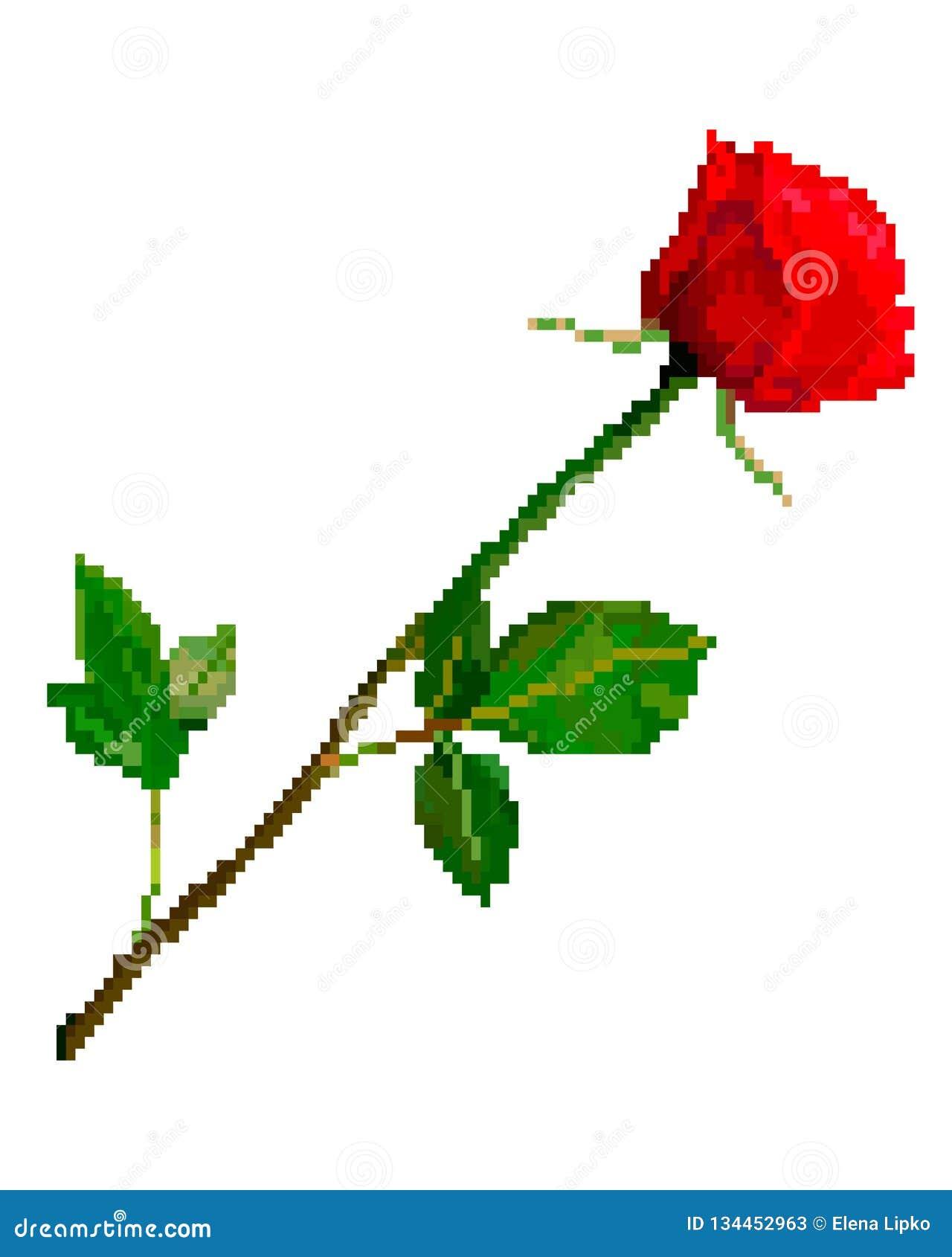 Fleur Rose Rouge Dart De Pixel Illustration De Vecteur