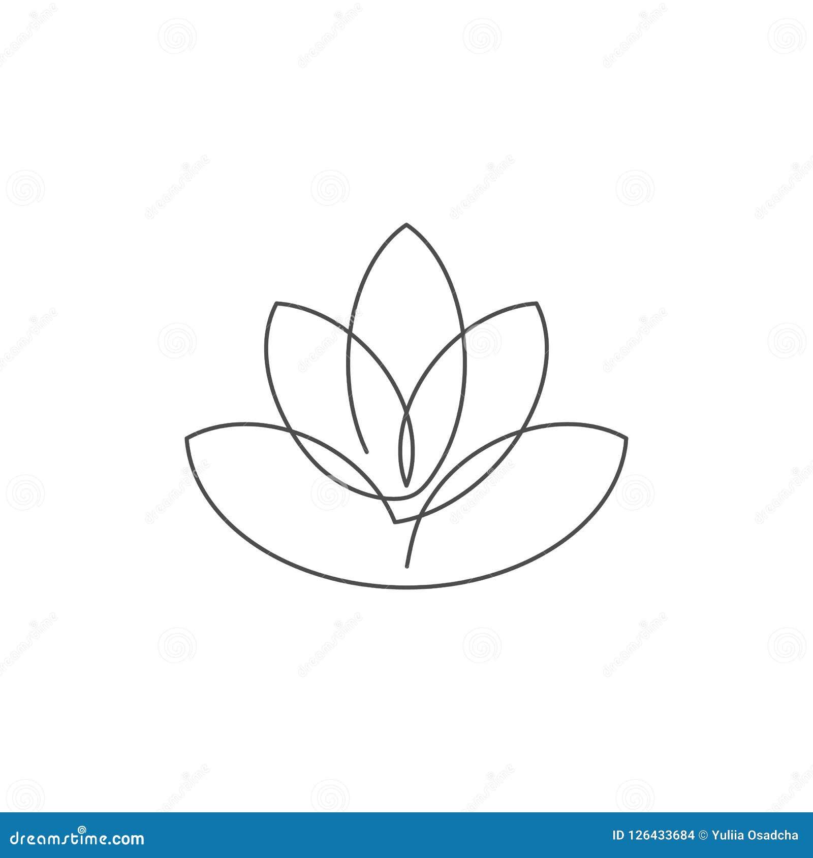 Fleurissez La Ligne Continue De Lotus Illustration De