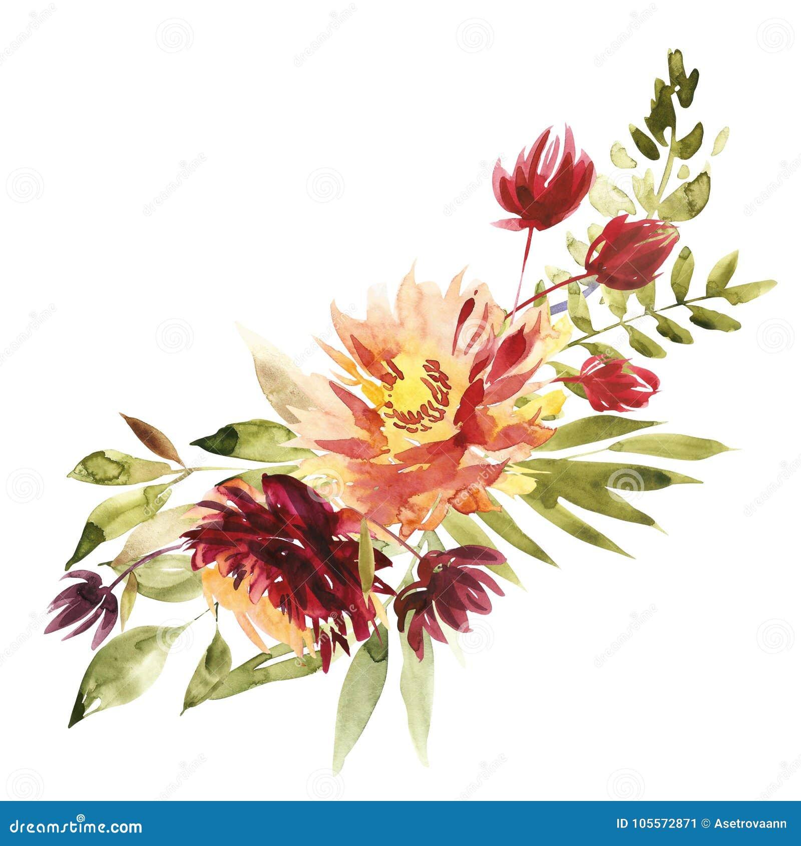 fleurit l 39 illustration d 39 aquarelle un bouquet avec une grande pivoine rouge et de petites fleurs. Black Bedroom Furniture Sets. Home Design Ideas