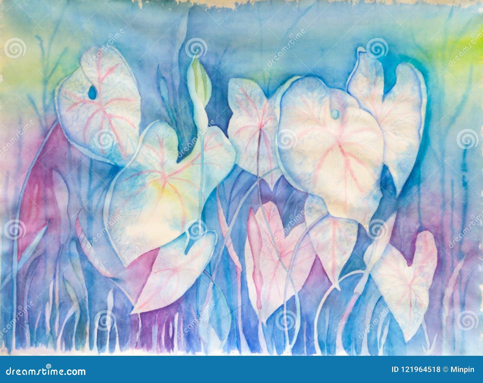 Fleurs abstraites dans des couleurs en pastel - peinture originale d aquarelle