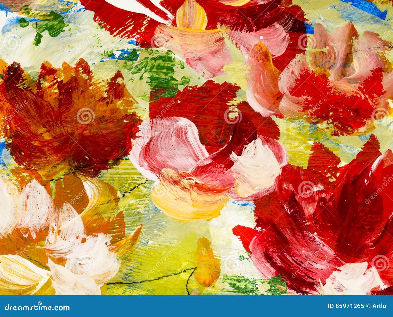 Fleurs Abstraites De La Peinture Acrylique Sur La Toile Illustration