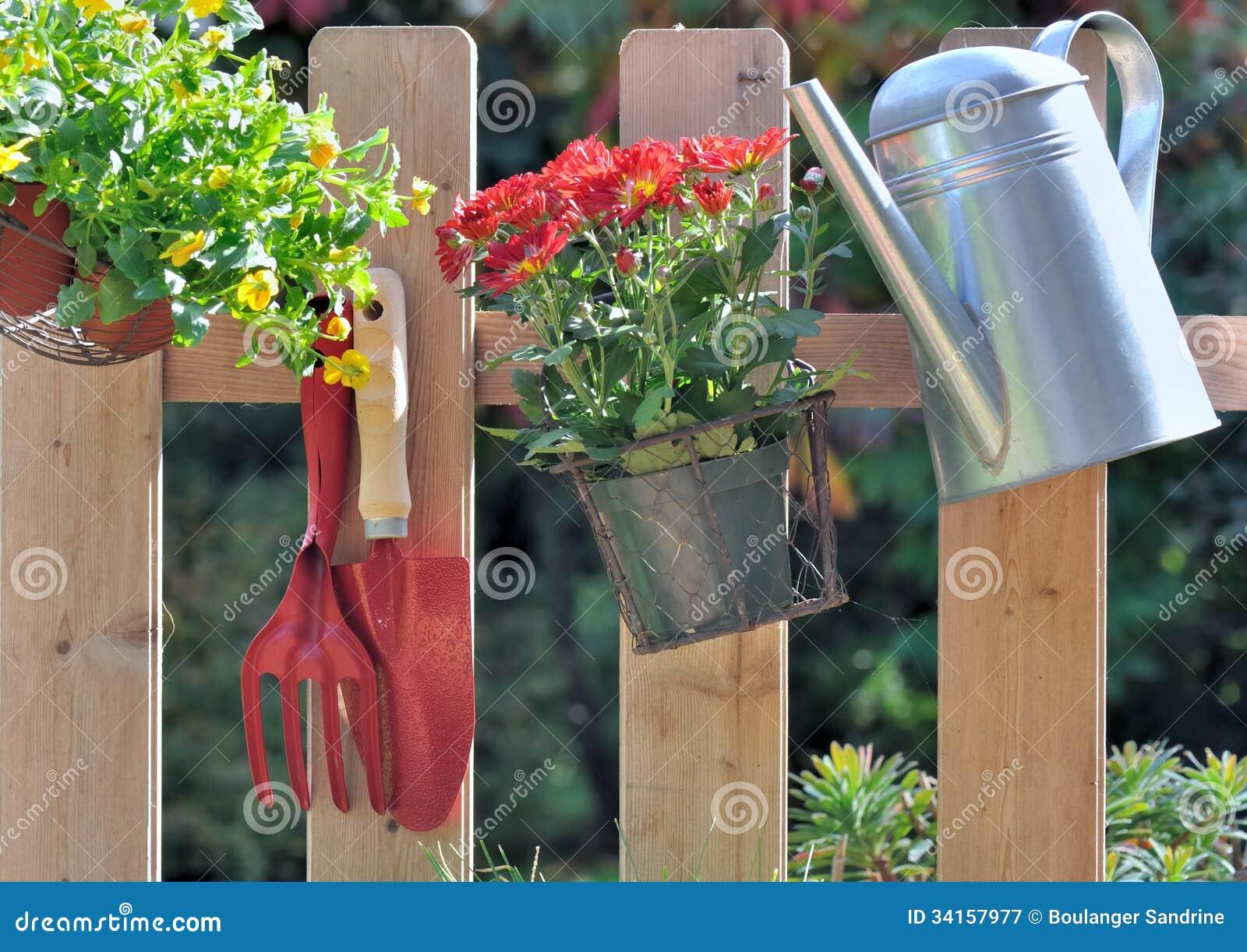 Fleurs automnales et accessoires de jardinage photographie - Accessoire de jardinage ...