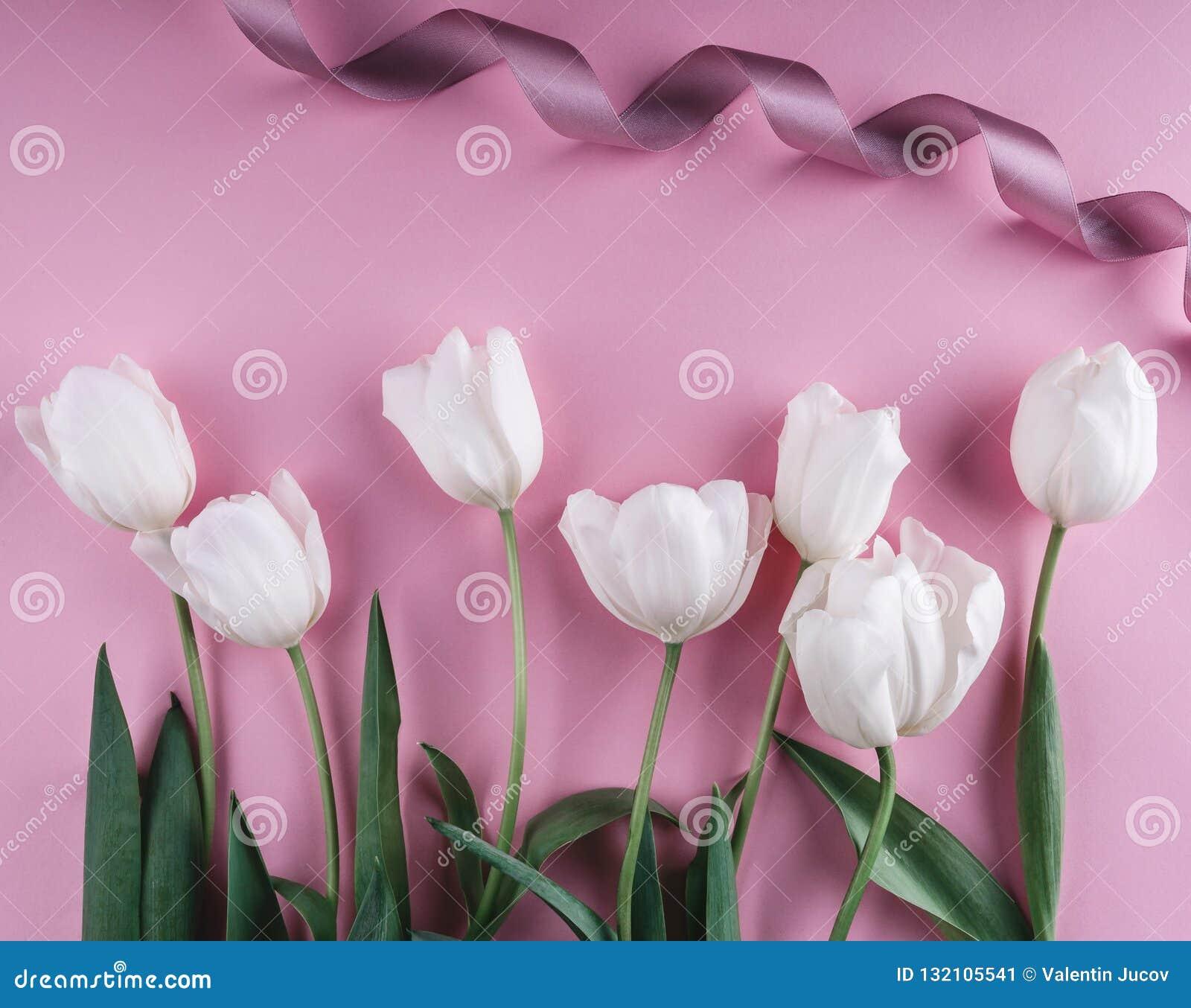 Fleurs blanches de tulipes au-dessus de fond rose-clair Carte de voeux ou invitation de mariage