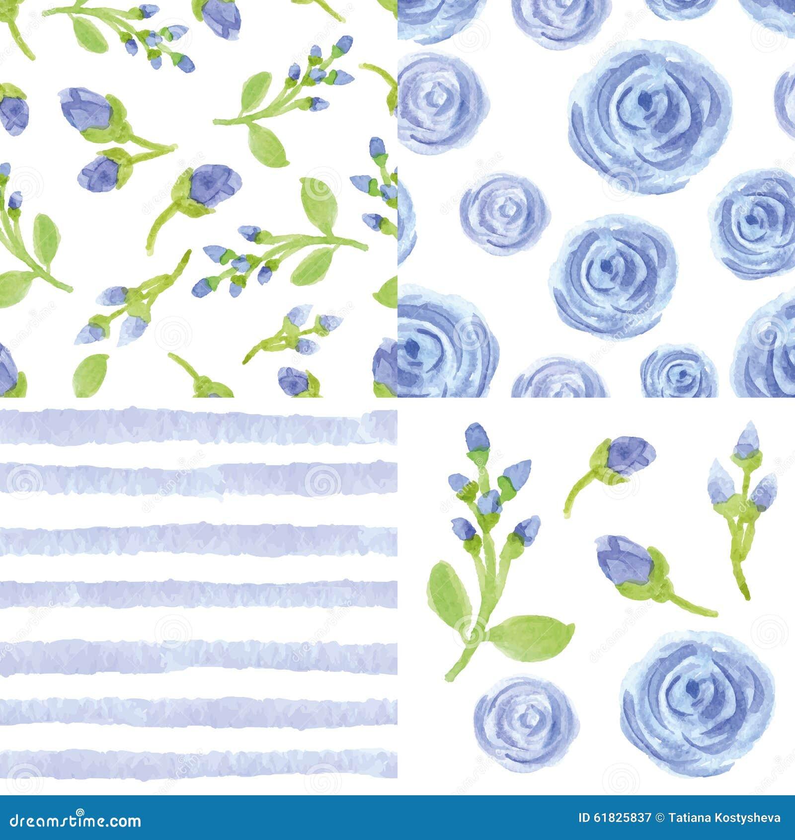 Fleurs bleues d aquarelle, ensemble sans couture de modèle de bandes