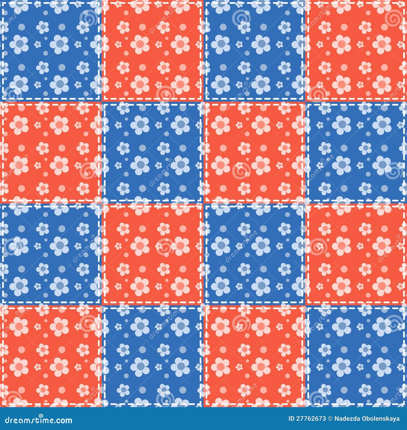 Fleurs bleues et rouges
