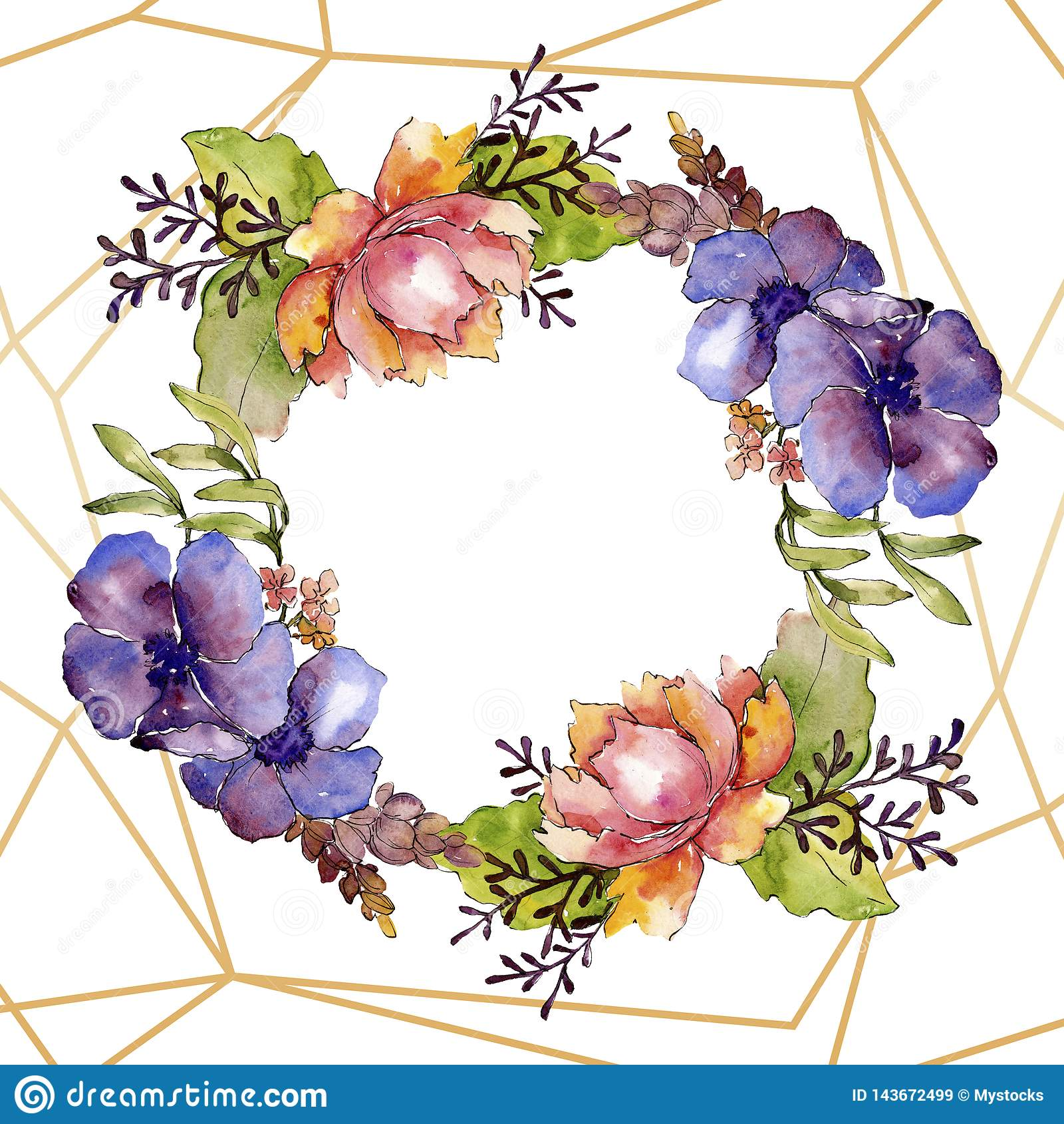 Fleurs botaniques florales de bouquet pourpre bleu Ensemble d illustration de fond d aquarelle Place d ornement de fronti?re de v
