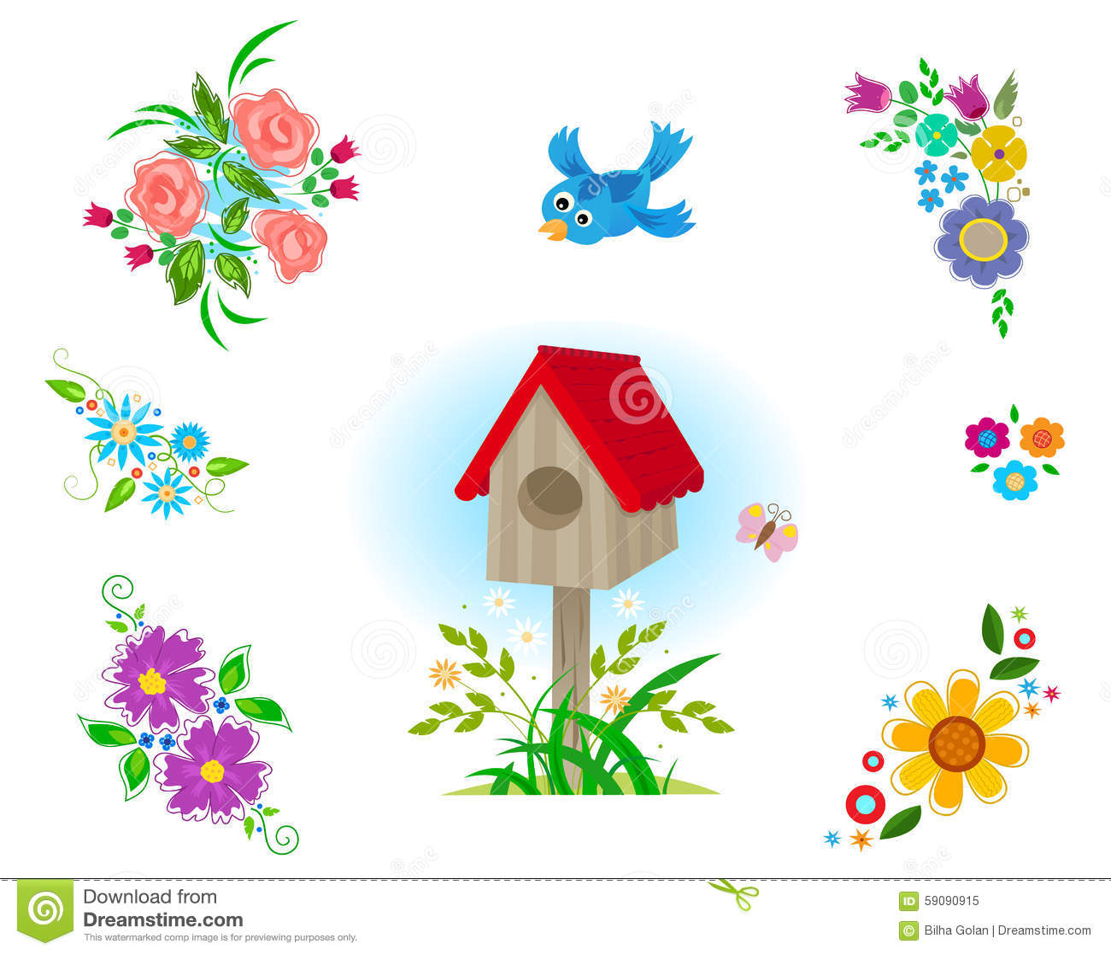 Fleurs clipart illustration stock illustration du oiseau for Clipart gratis download