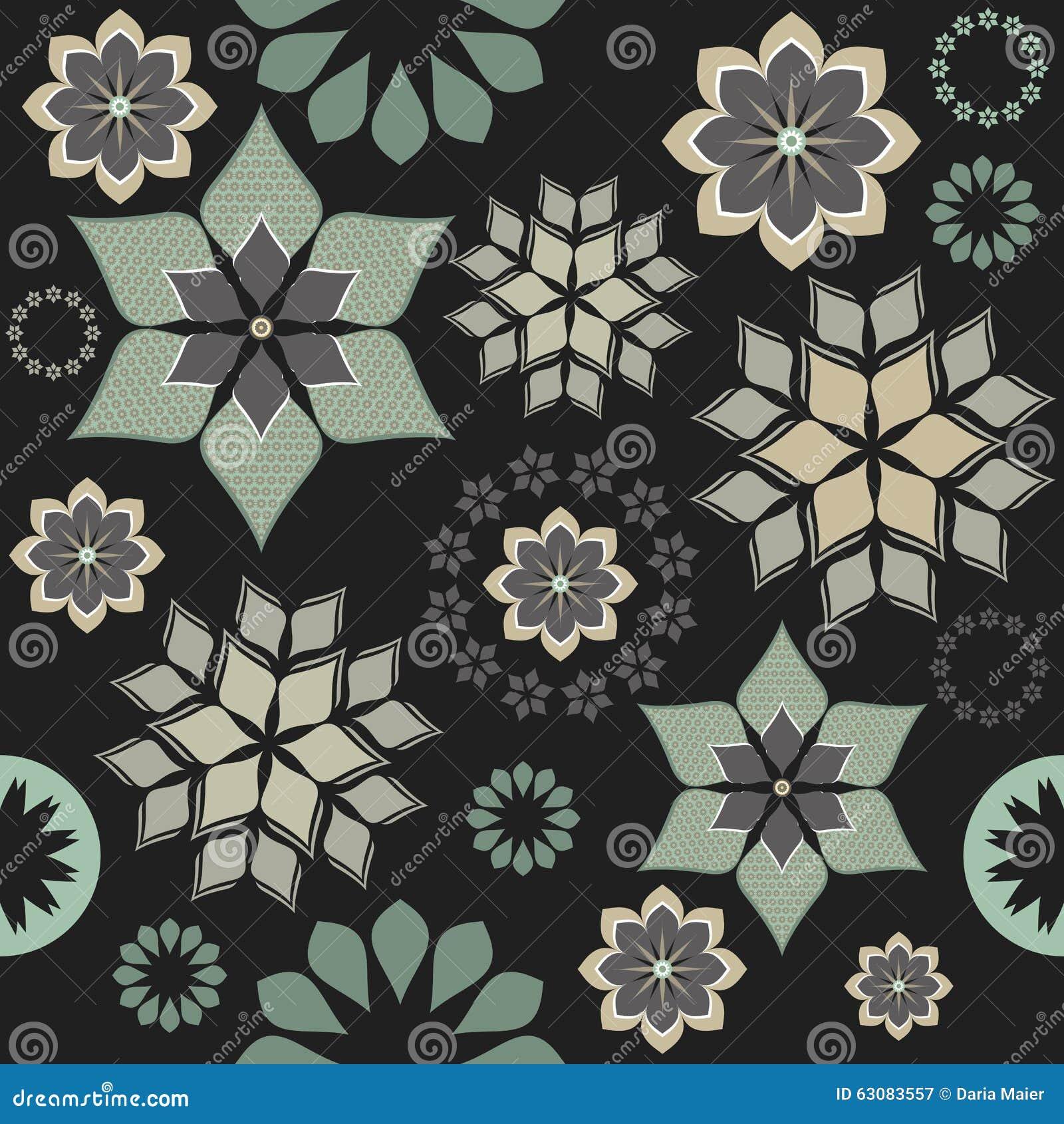 Download Fleurs Décoratives Et éléments Abstraits Sur Le Fond Noir Illustration de Vecteur - Illustration du courbe, dessin: 63083557