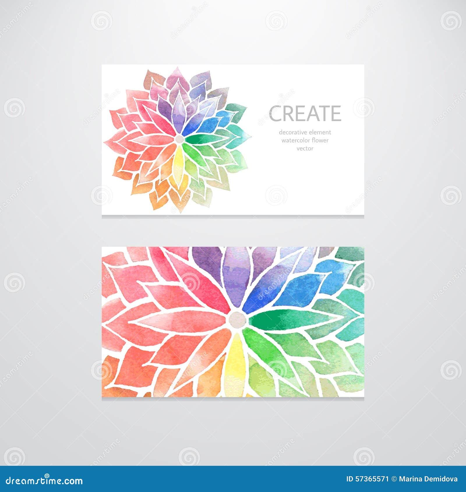 Calibres Colores De Carte Visite Professionnelle Dirigez La Conception Avec Des Fleurs Darc En Ciel Daquarelle Sur Le Fond Blanc Concept