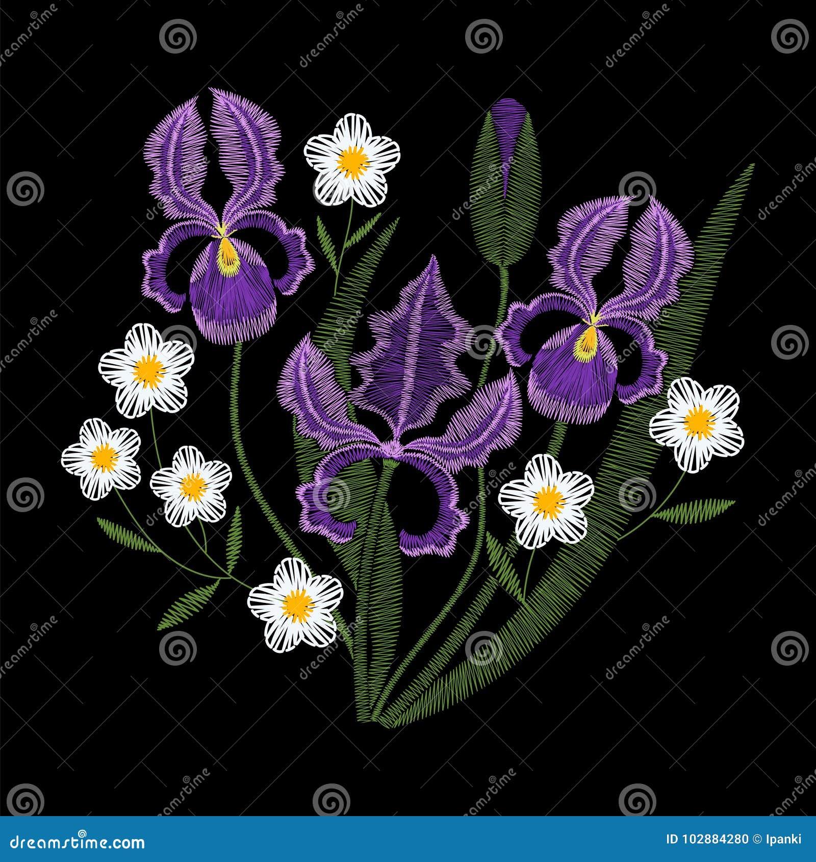 Fleurs d iris avec le vecteur de broderie de camomille