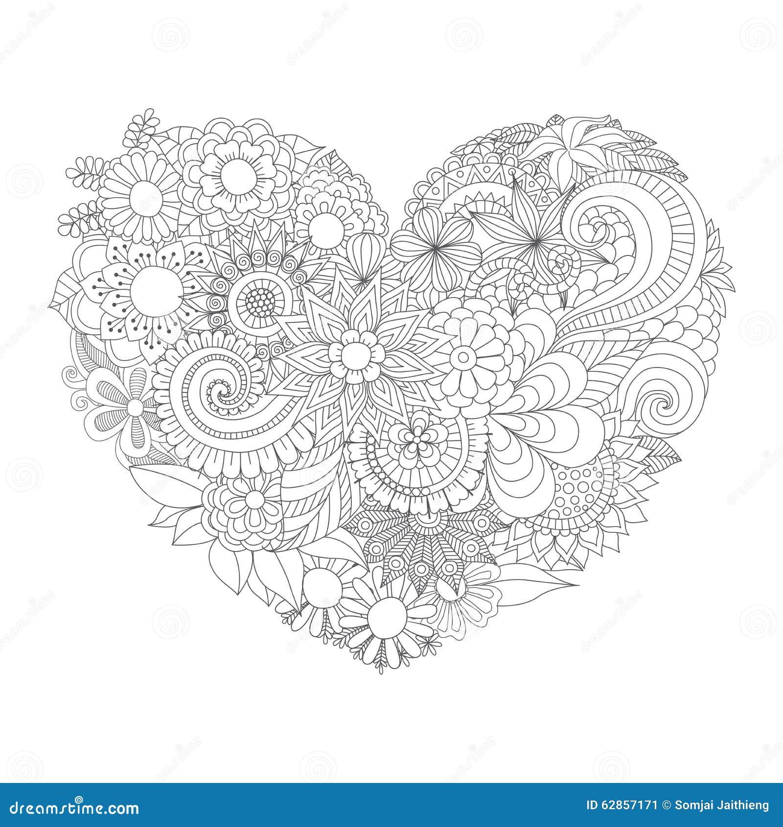 Fleurs dans le mod¨le de forme de coeur pour livre de coloriage Image stock