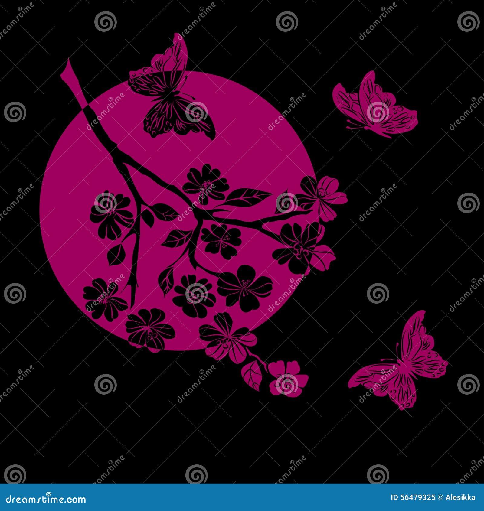 Fleurs de cerisier et papillon de brindille