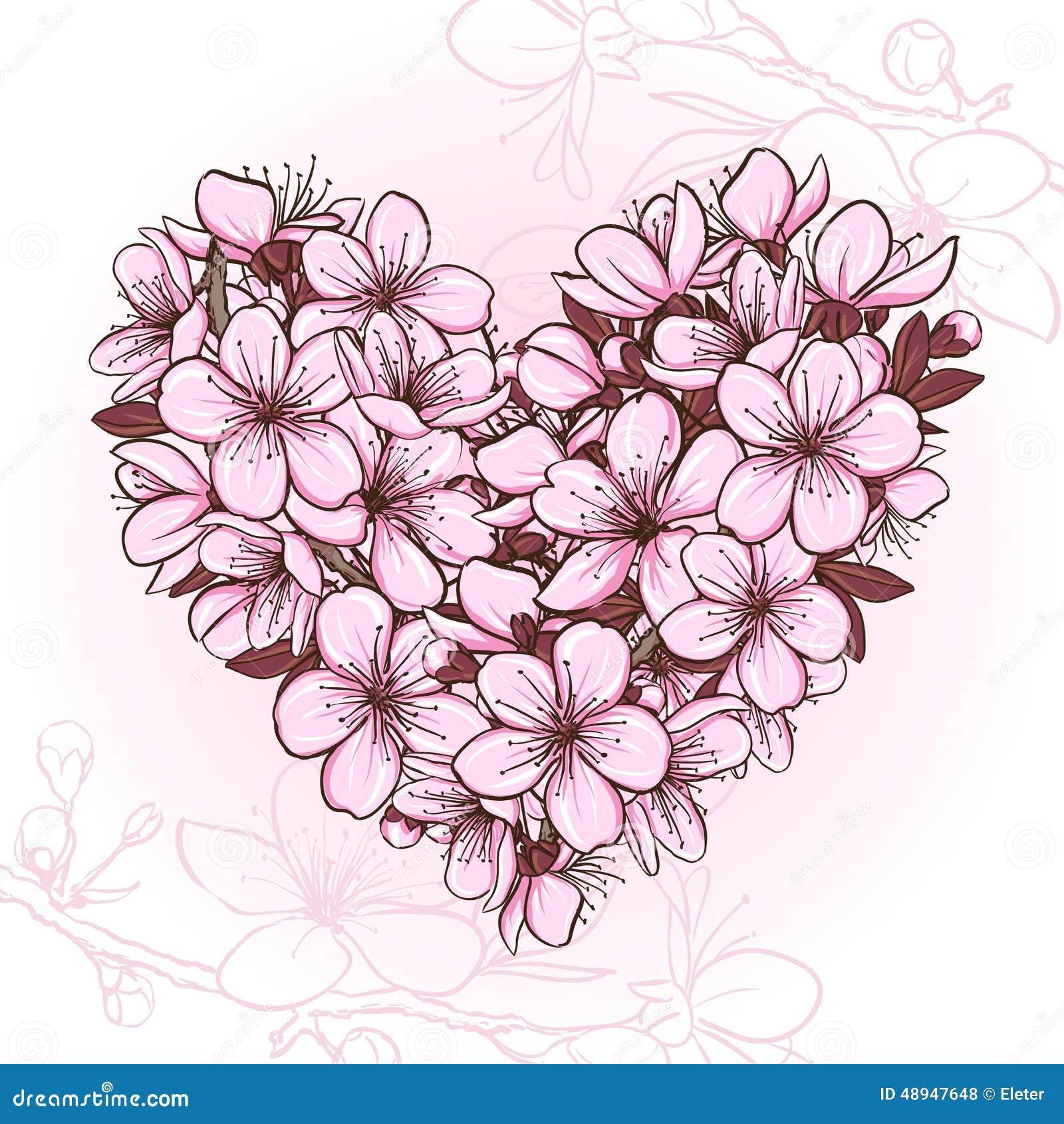 Fleurs de cerisier sous forme de coeur illustration de vecteur image 48947648 - Fleurs en forme de coeur ...