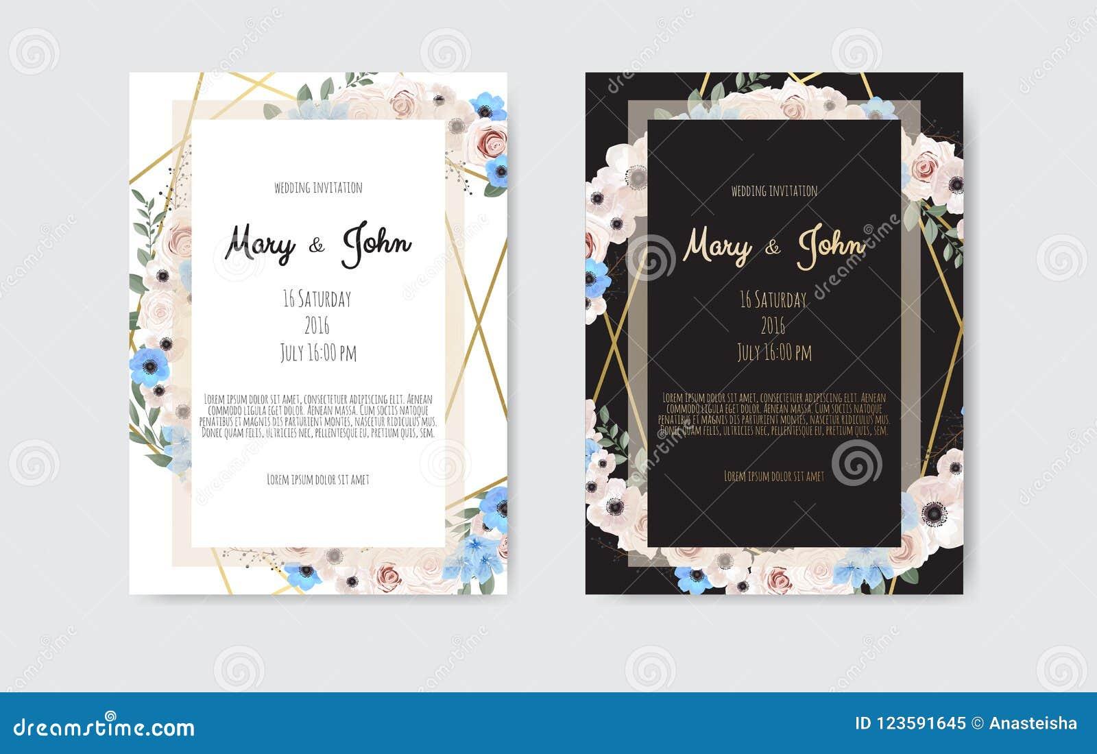 Fleurs De Conception De Calibre De Carte D Invitation De Mariage