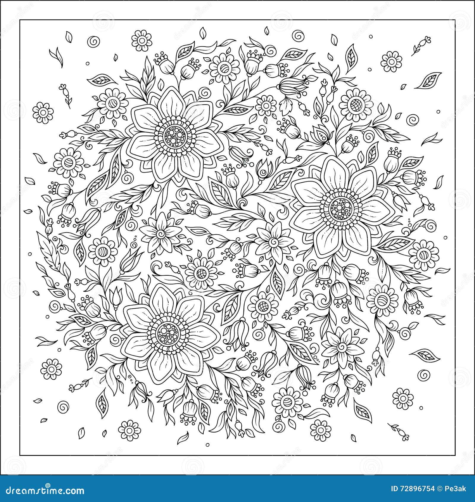 Coloriage Adulte Foret.Fleurs De Foret Pages De Livre De Coloriage De Vecteur Illustration