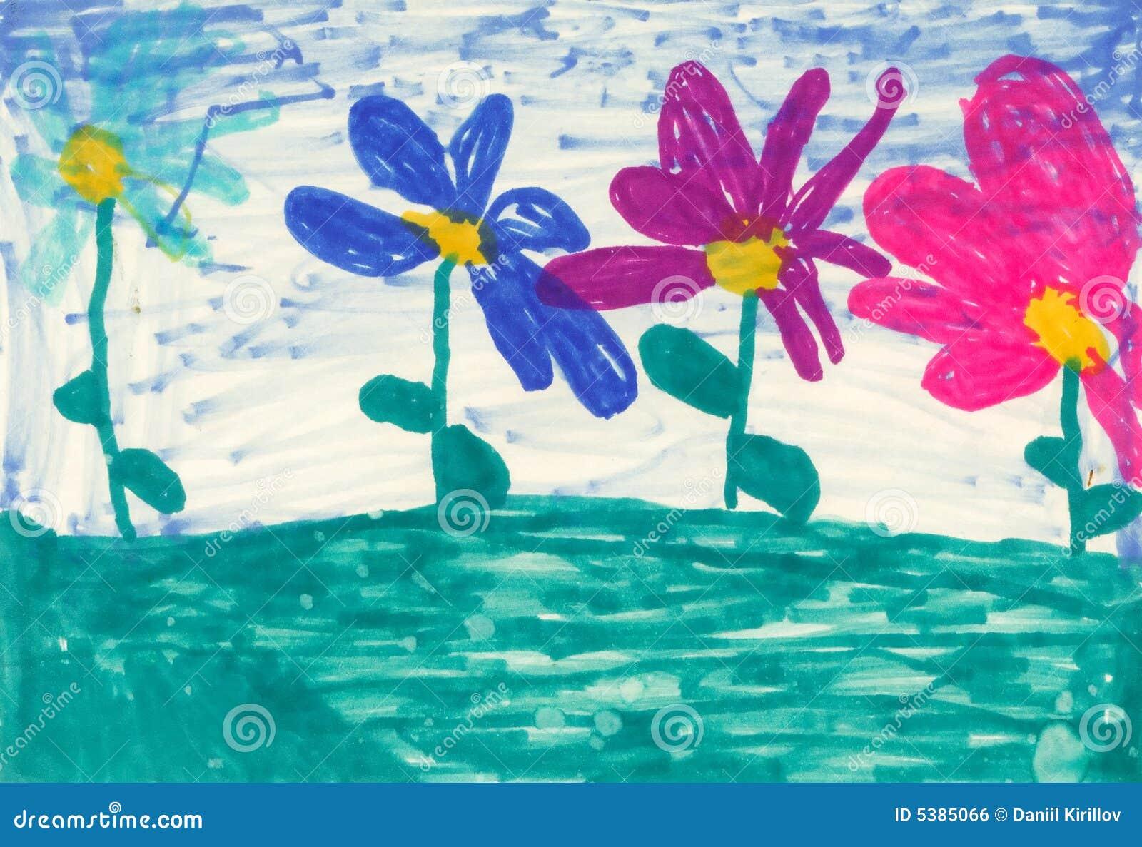 Fleurs de la peinture des enfants