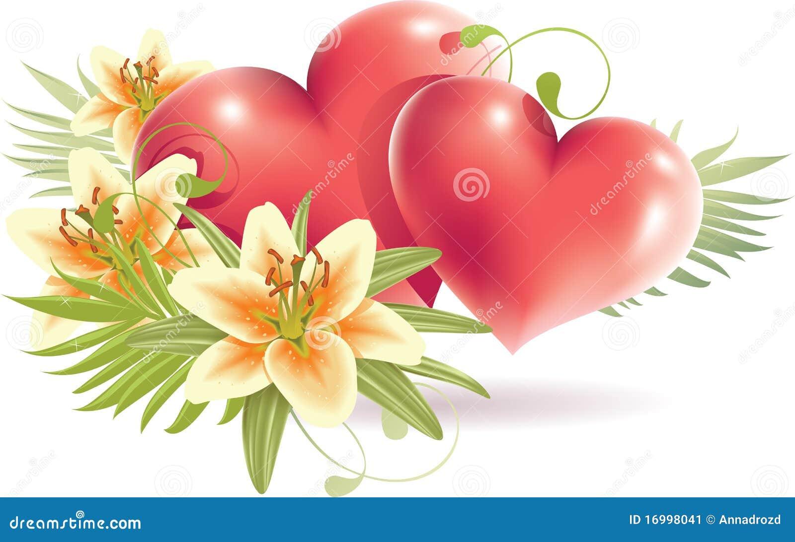 Fleurs de lis avec le coeur rouge illustration de vecteur - Bouquet de fleur en coeur ...