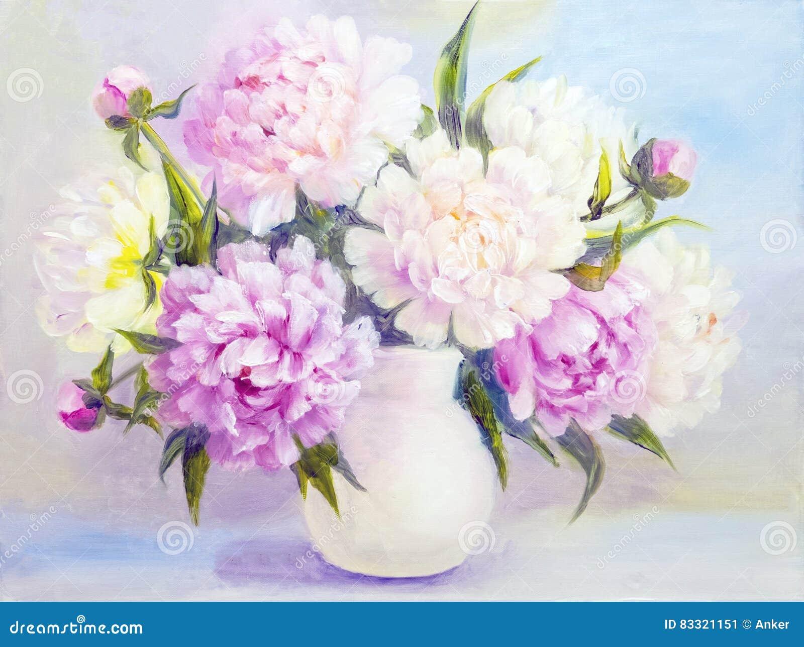 Fleurs De Pivoine Dans Un Vase Blanc Image Stock Image Du Cadeau