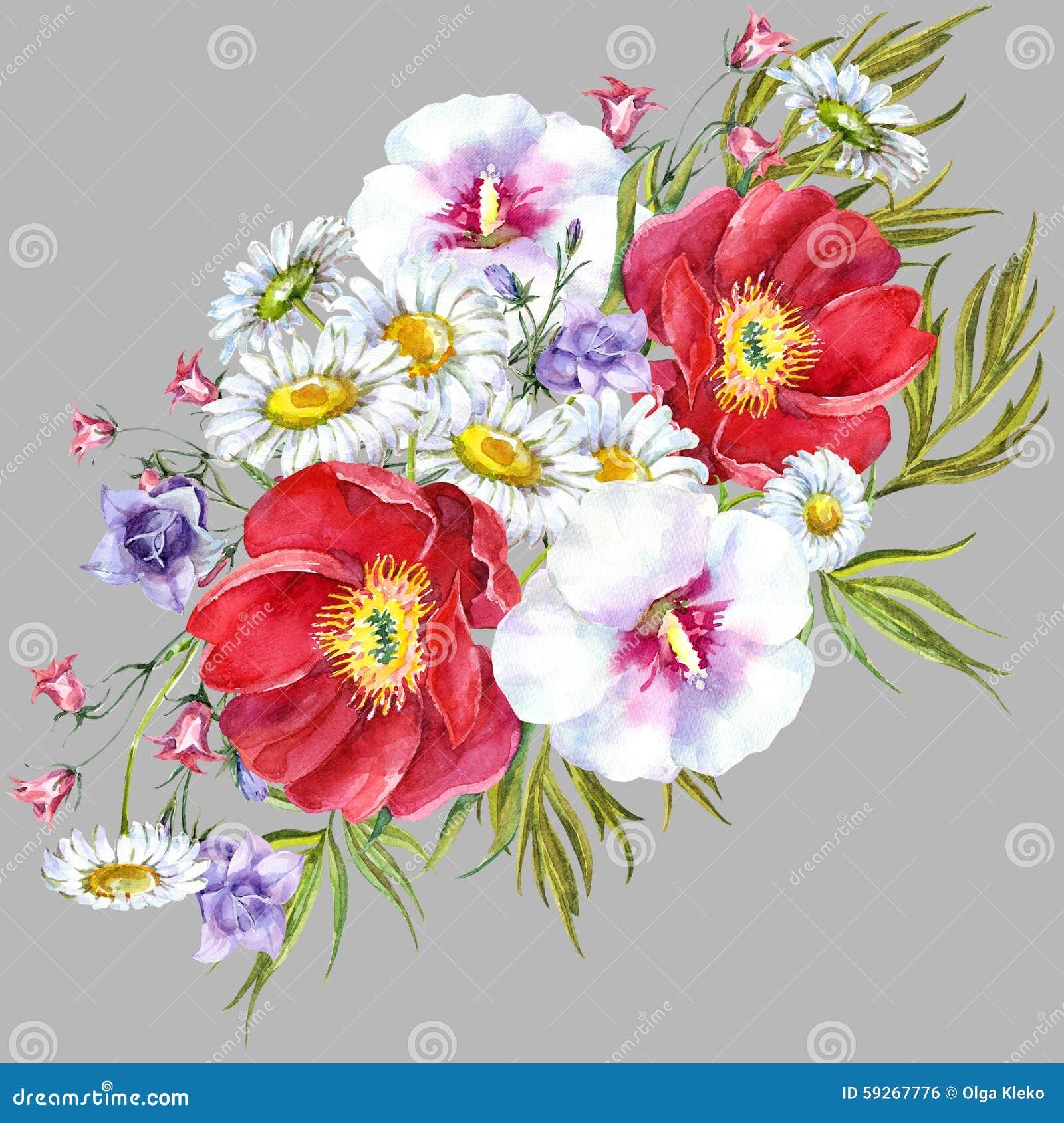 Fleurs de pr de bouquets aquarelle illustration stock for Aquarelle fleurs