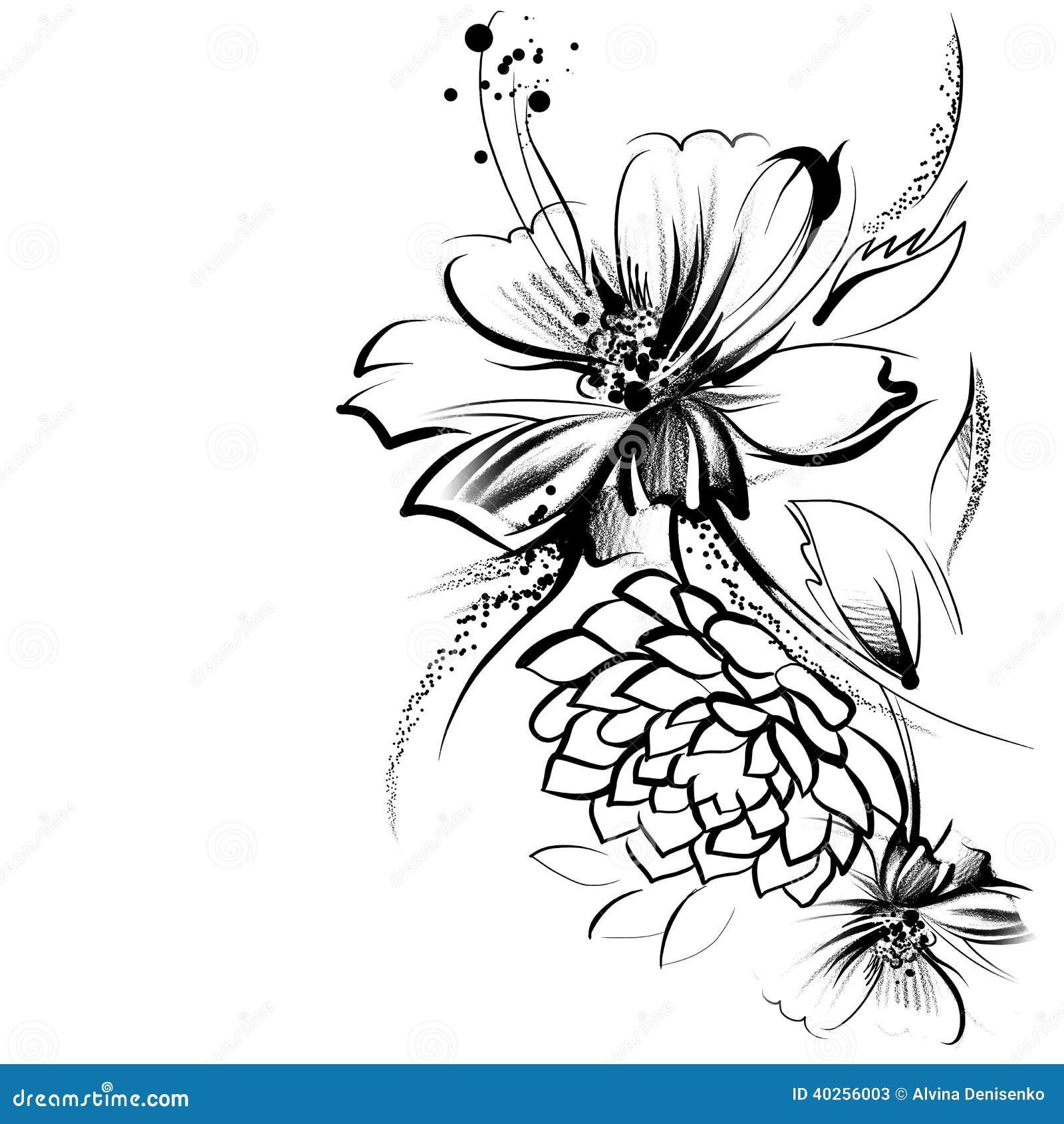 Fleurs, dessinées en encre sur un livre blanc