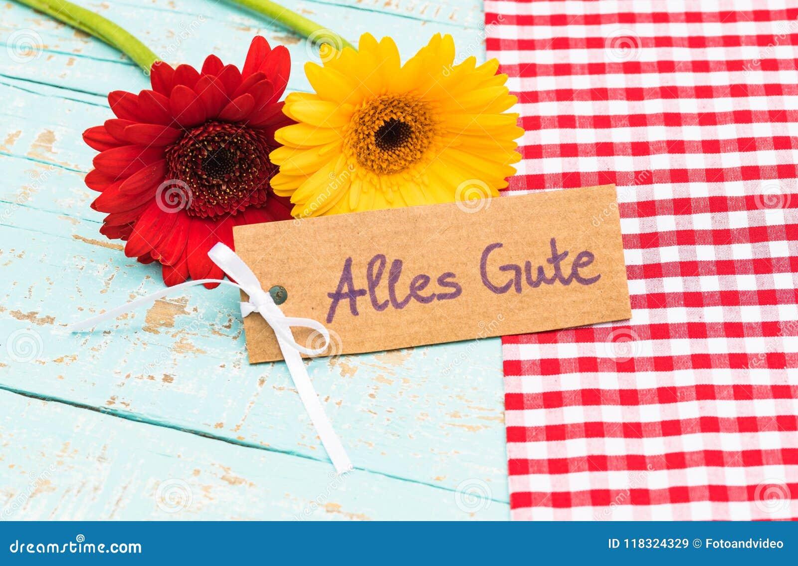 Fleurs Et Carte Cadeaux Avec Le Texte Allemand Alles Gute Moyens