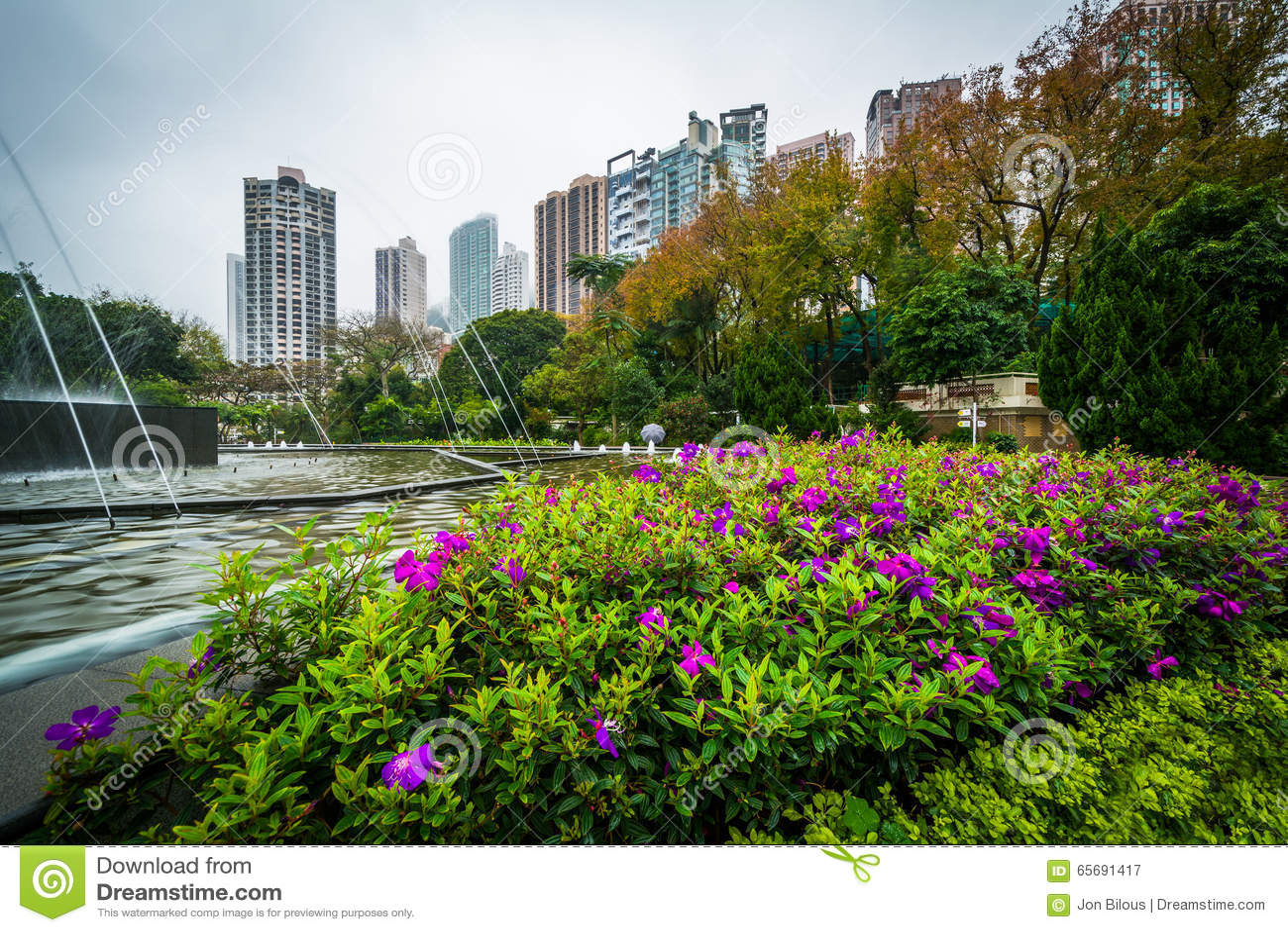 Fleurs et fontaine chez Hong Kong Zoological And Botanical Garde