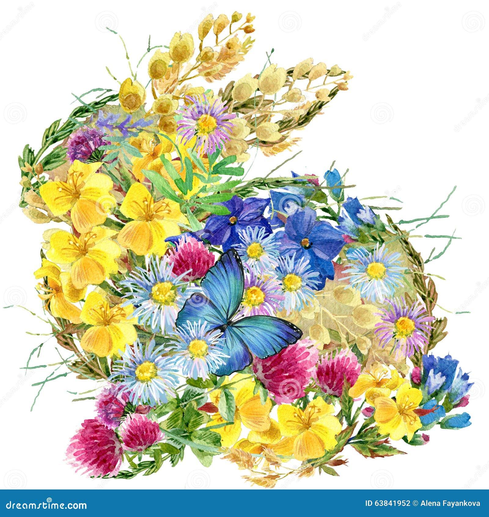 Fleurs et papillons de lapin d 39 aquarelle illustration for Aquarelle fleurs