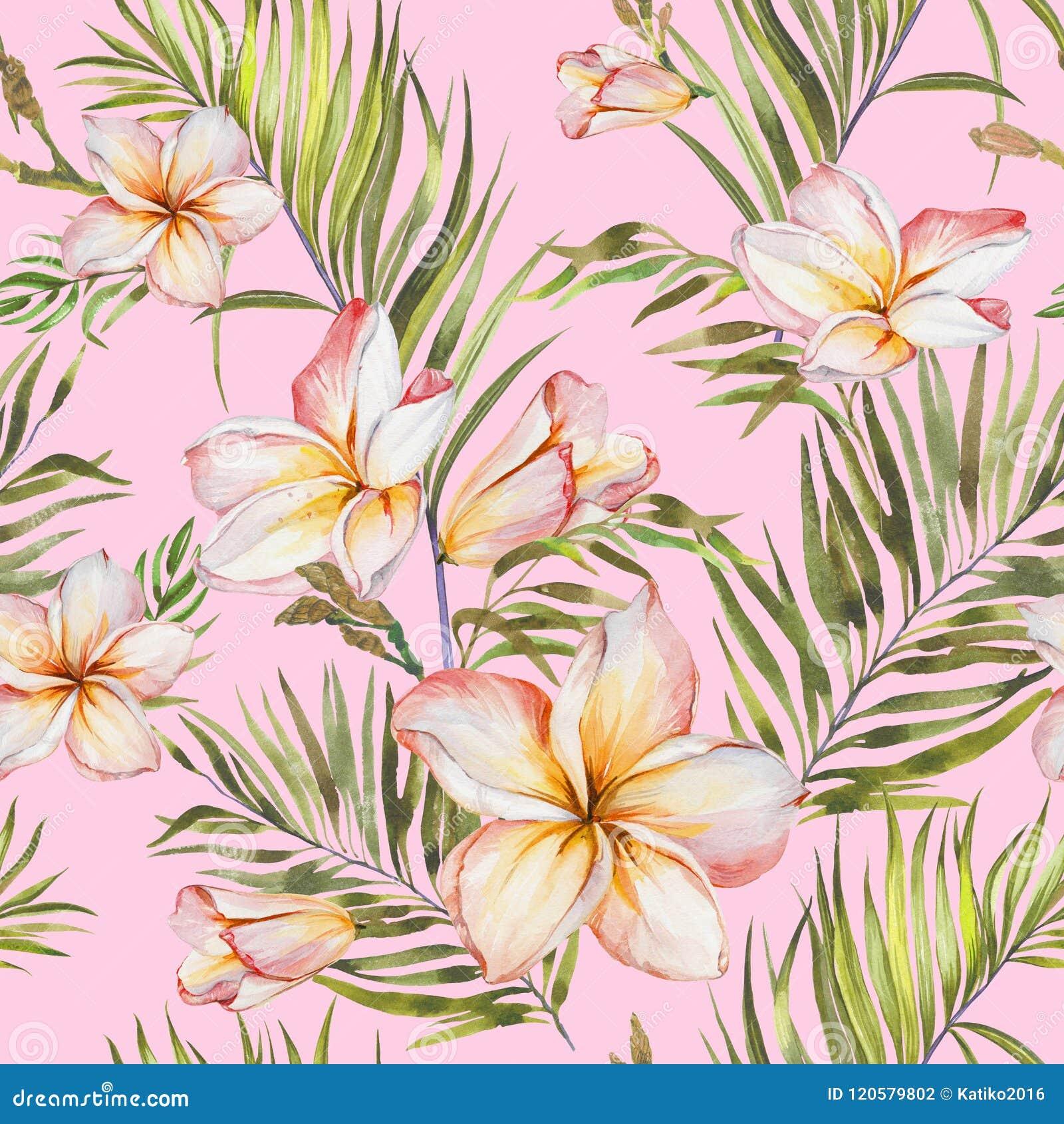 Fleurs Exotiques De Plumeria Et Palmettes Vertes Dans Le Modele