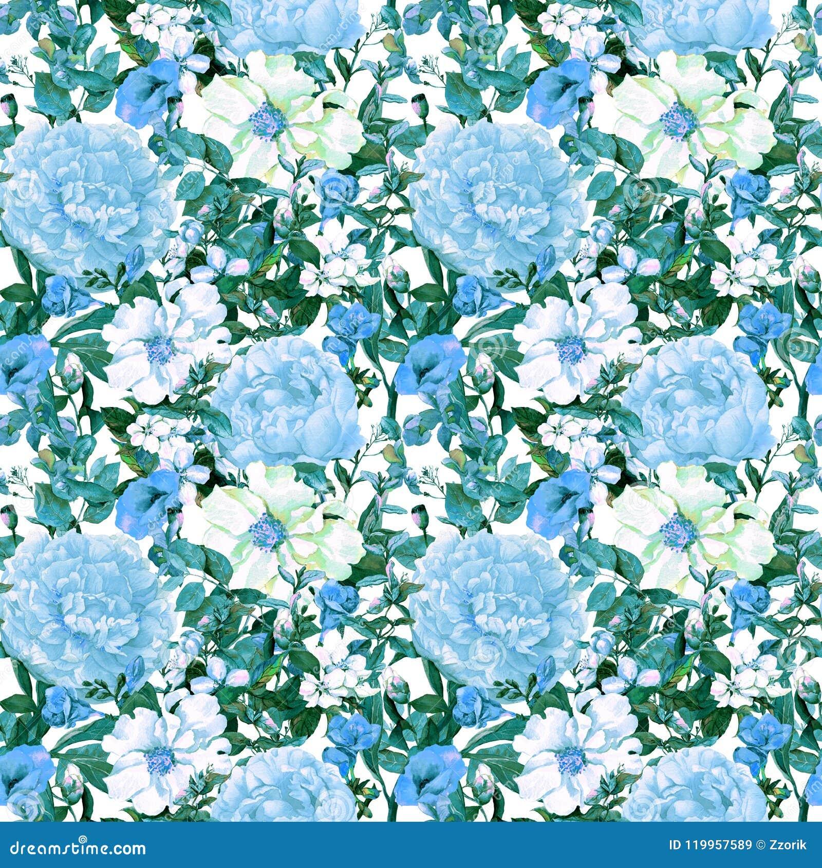 Fleurs, feuilles, herbe sauvage Répétition du modèle floral dans la couleur bleue watercolor