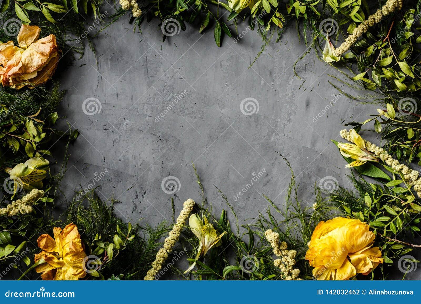 Fleurs jaunes et feuilles vertes se trouvant sur le fond concret gris Décoration pour des femmes jour, fond de fête des mères pla