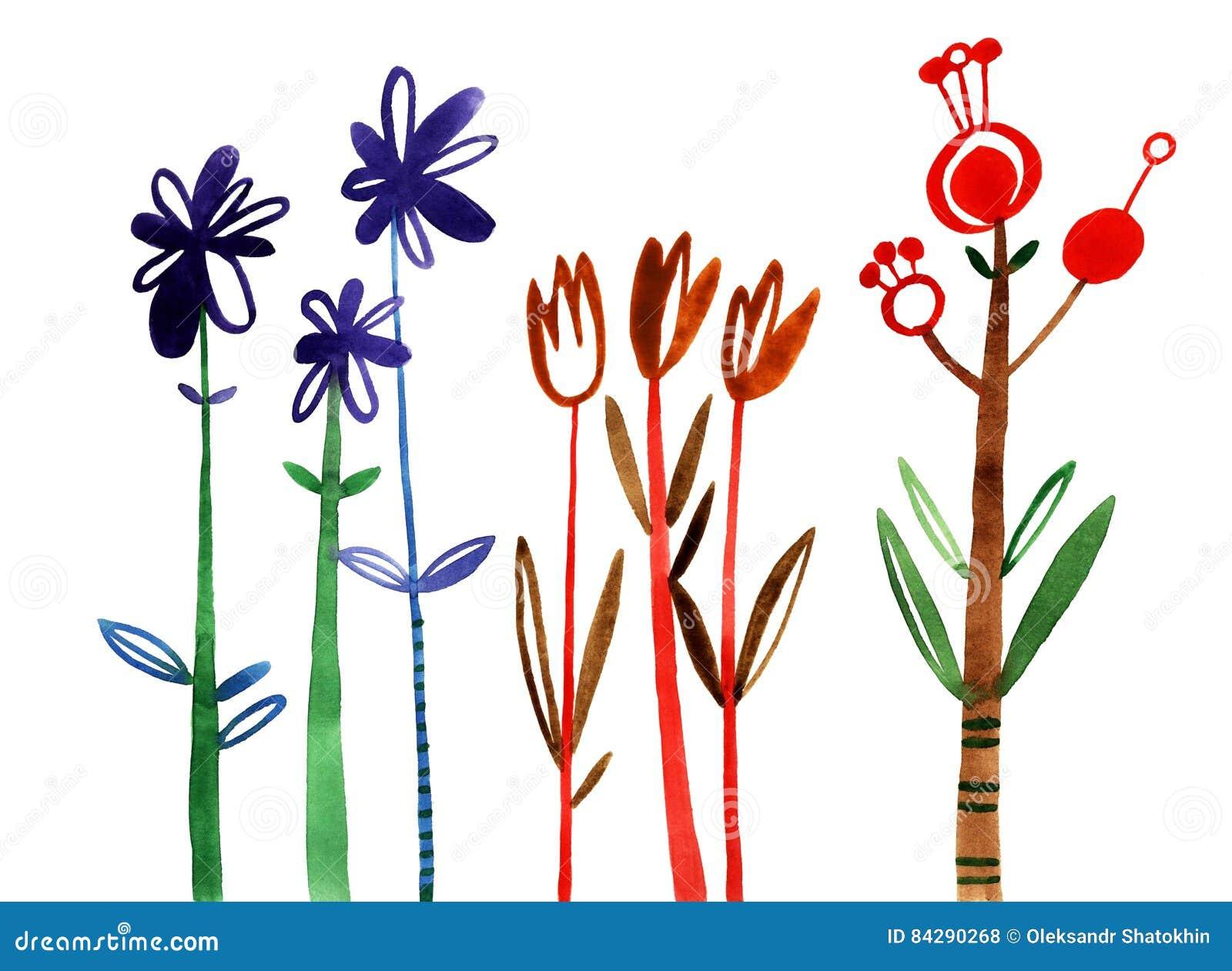 Fleurs Reglees Collection Florale Coloree Avec Des Feuilles Et Des
