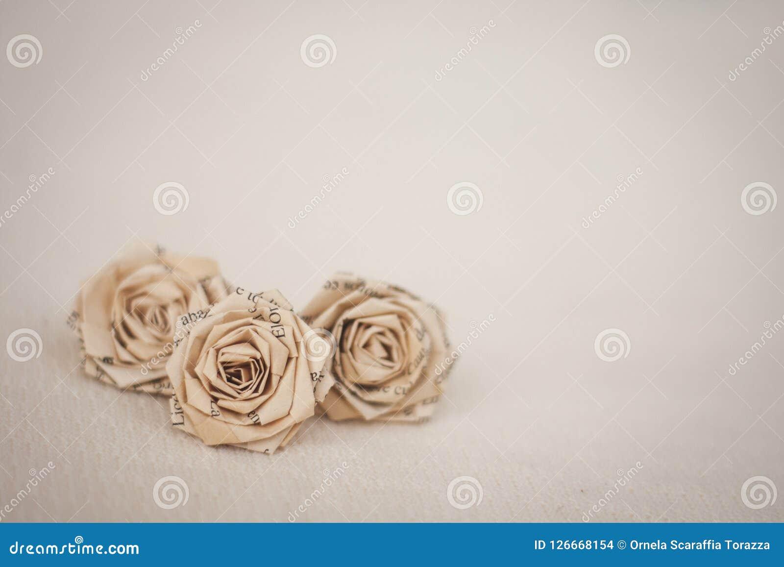 Fleurs - roses de papier de vieux livre