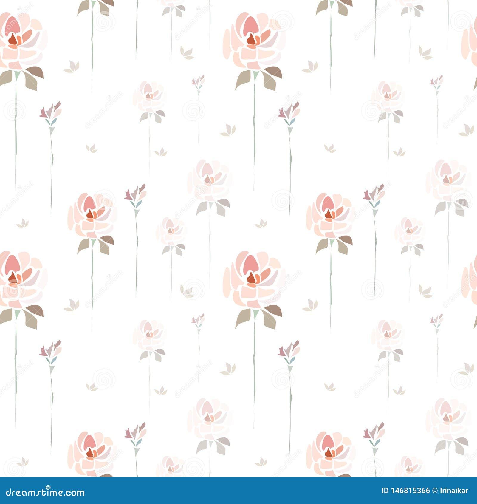 Fleurs roses tir?es par la main de roses sur le fond blanc comme la peinture d aquarelle