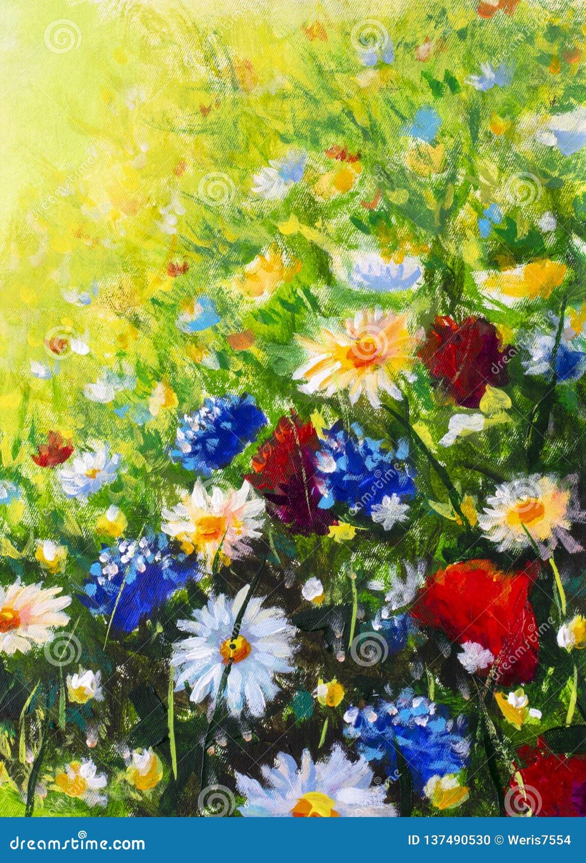 Fleurs Sauvages Colorees Modernes De Peinture De Fleur Photo Stock Image Du Peinture Fleurs 137490530