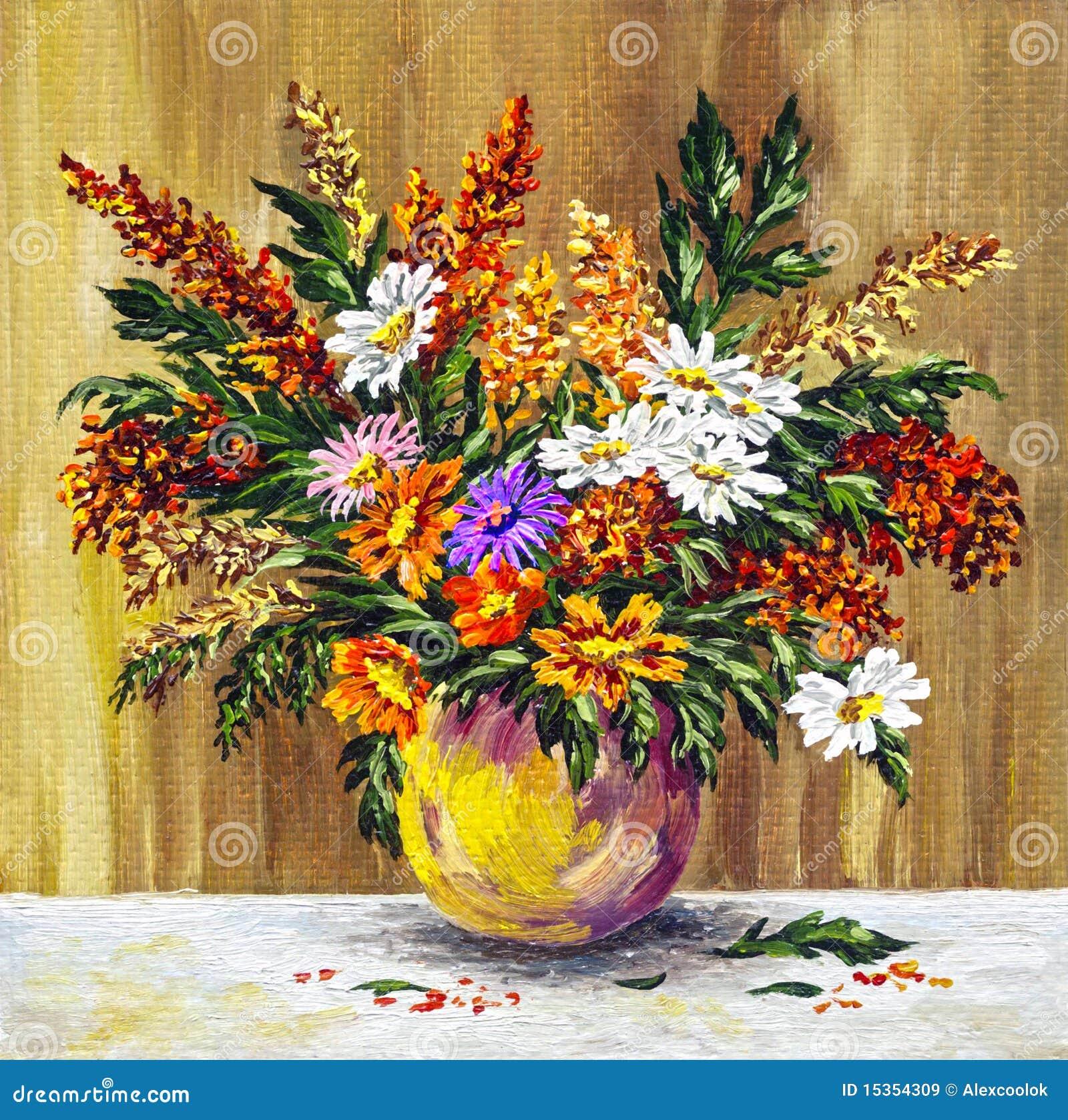 Fleurs sauvages dans un bac d argile