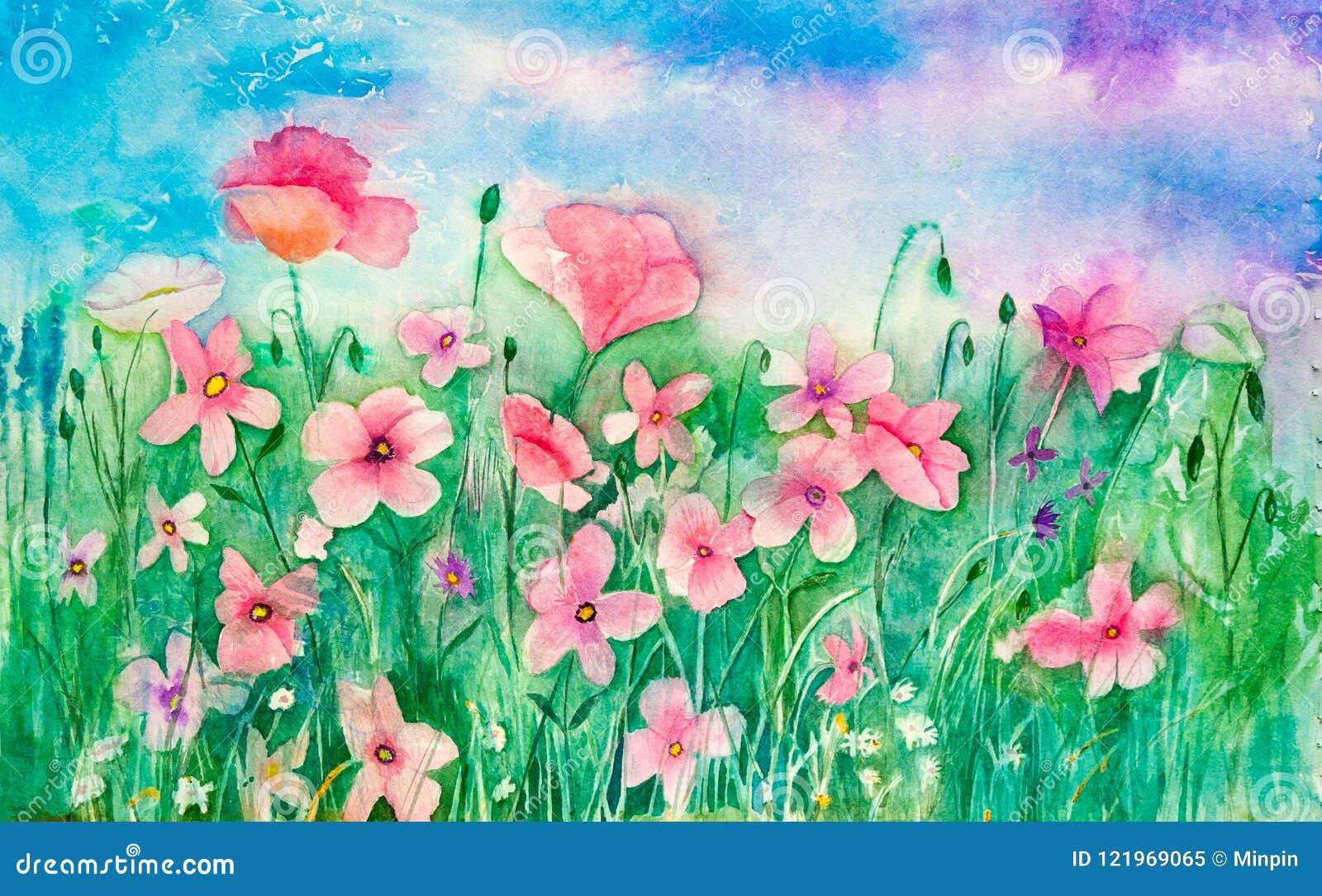 Fleurs sauvages en pastel roses dans un domaine - art original