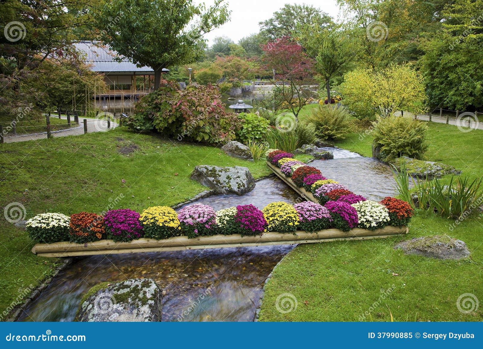 Fleurs Sur La Crique Dans Le Jardin Japonais Image Stock Image Du