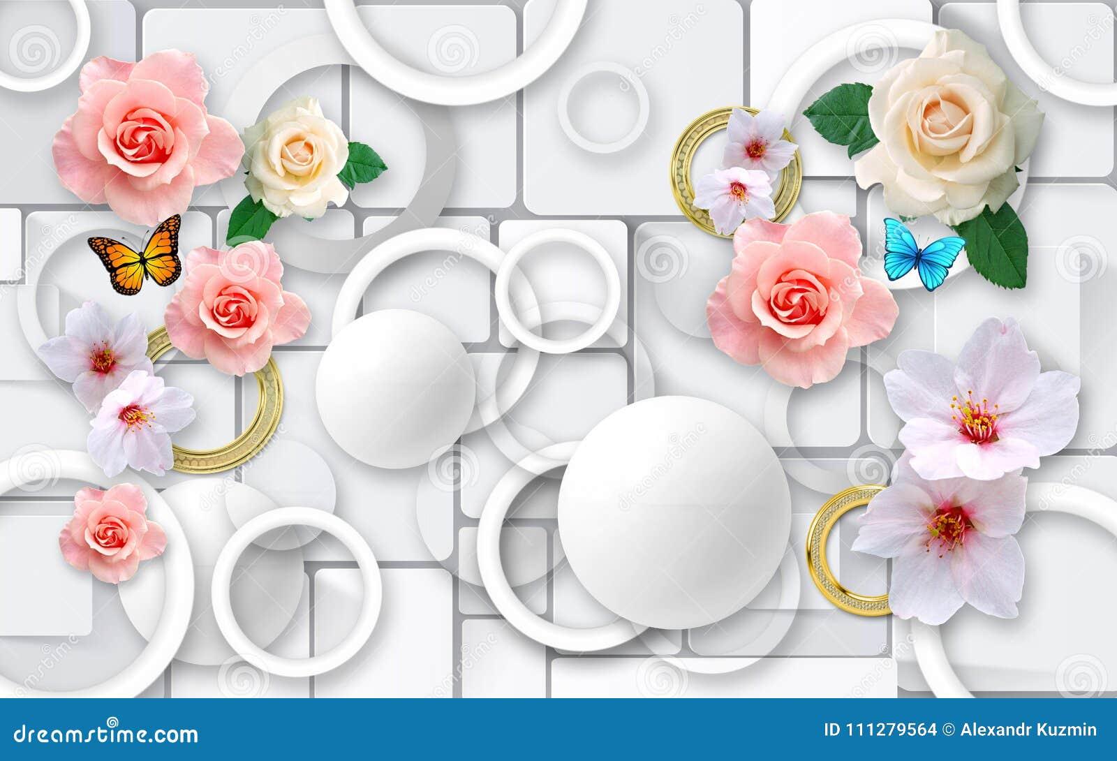 Fleurs sur un fond abstrait papiers peints 3D pour des murs 3d rendent