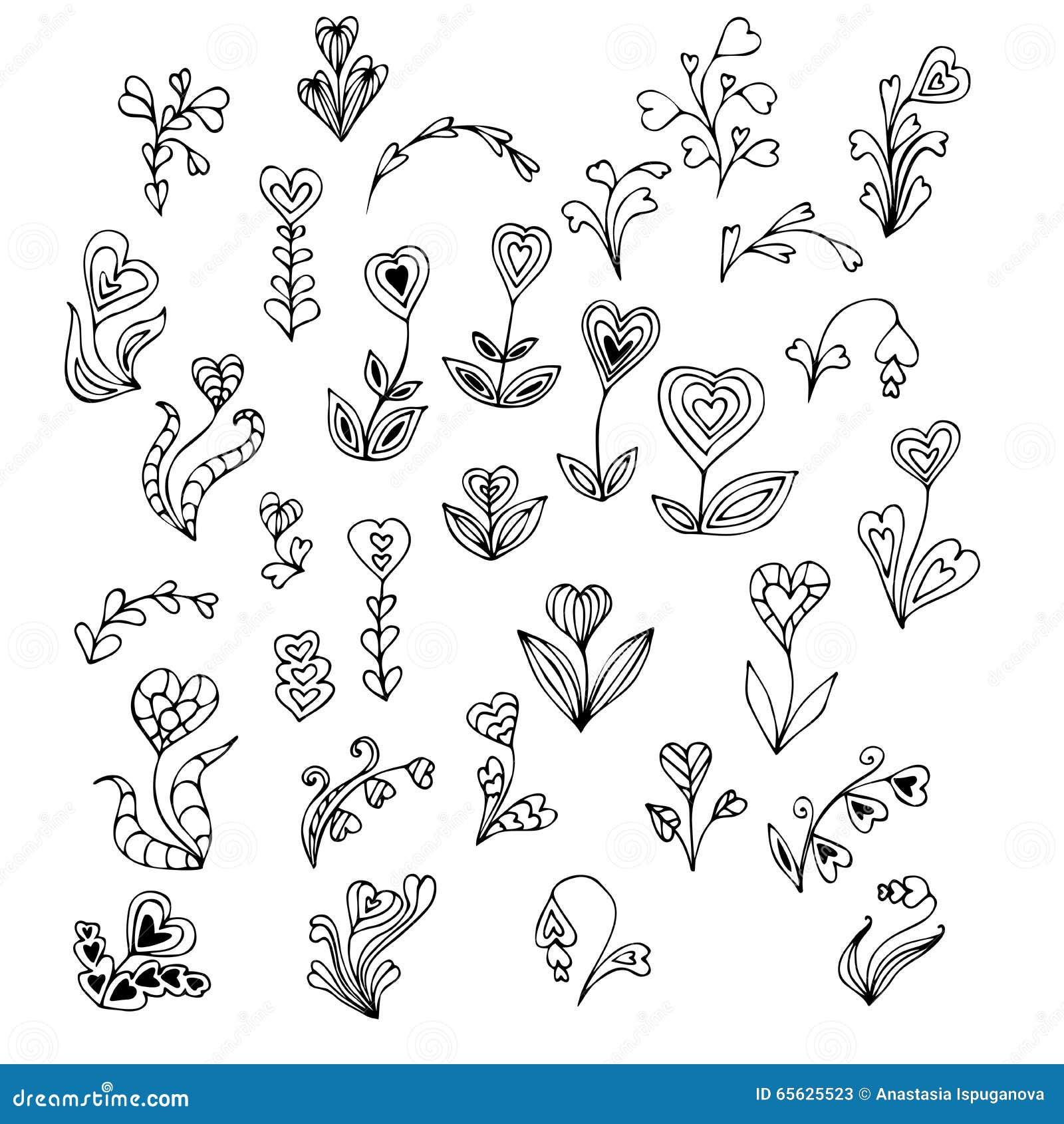 Fleurs tirées par la main de coeur de griffonnage